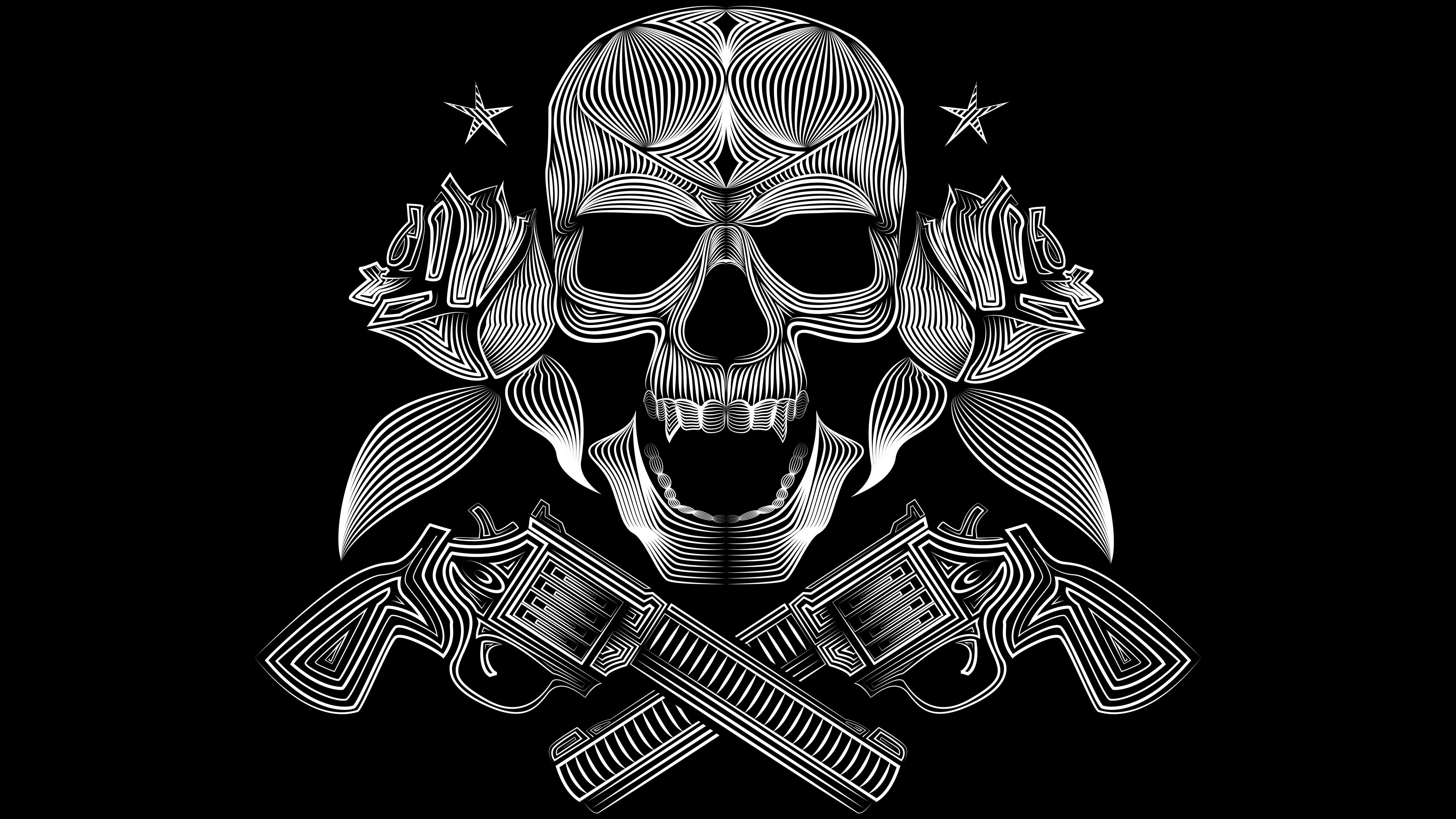 5120x2880 Skull Gun N Roses 8k 5k Hd 4k Wallpapers Images