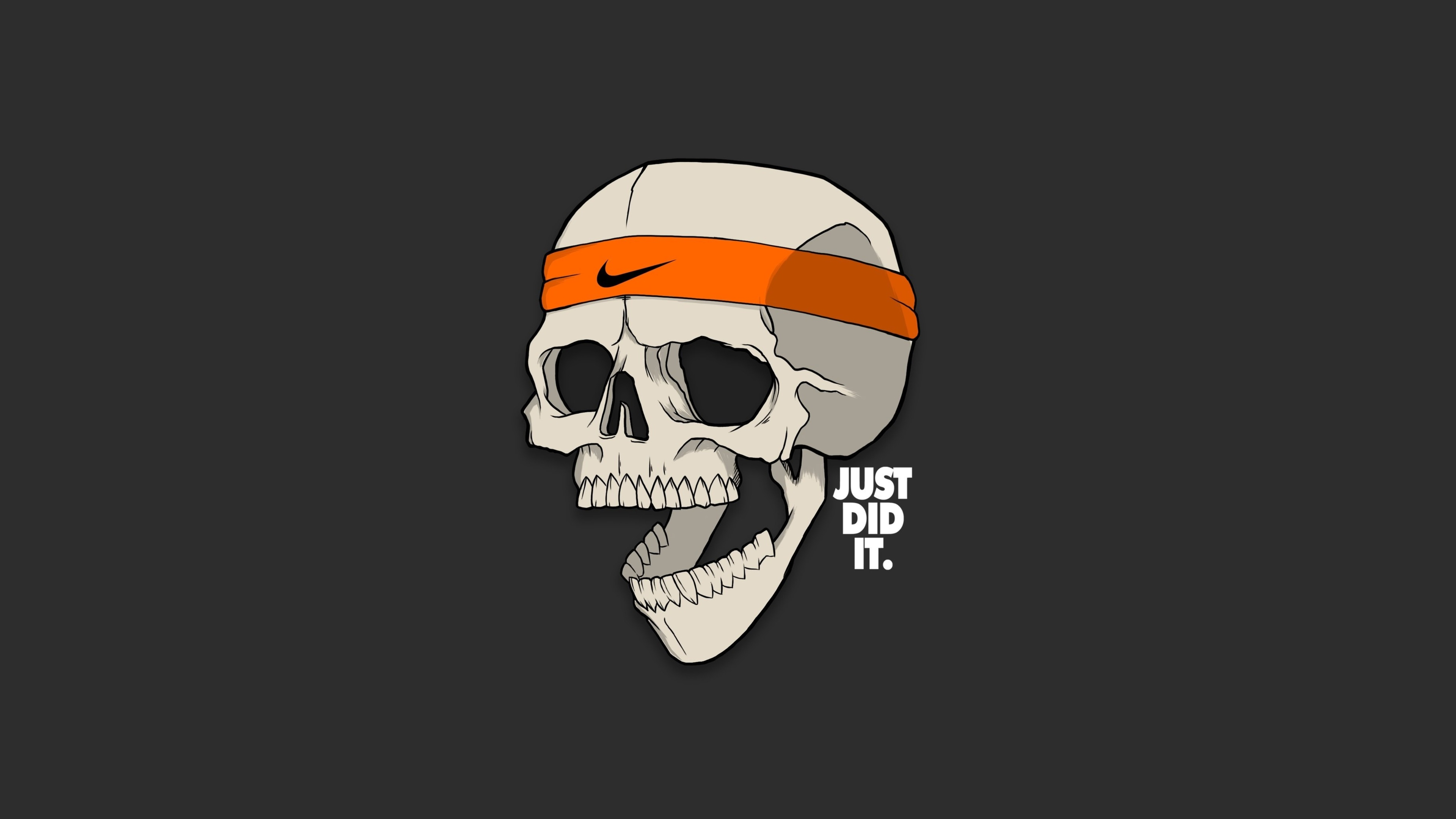 3840x2160 Skull Just Did It Minimalism 4k Hd 4k Wallpapers