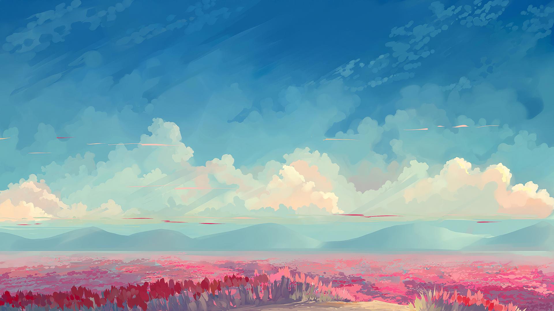 sky blue clouds digital art 4k pc
