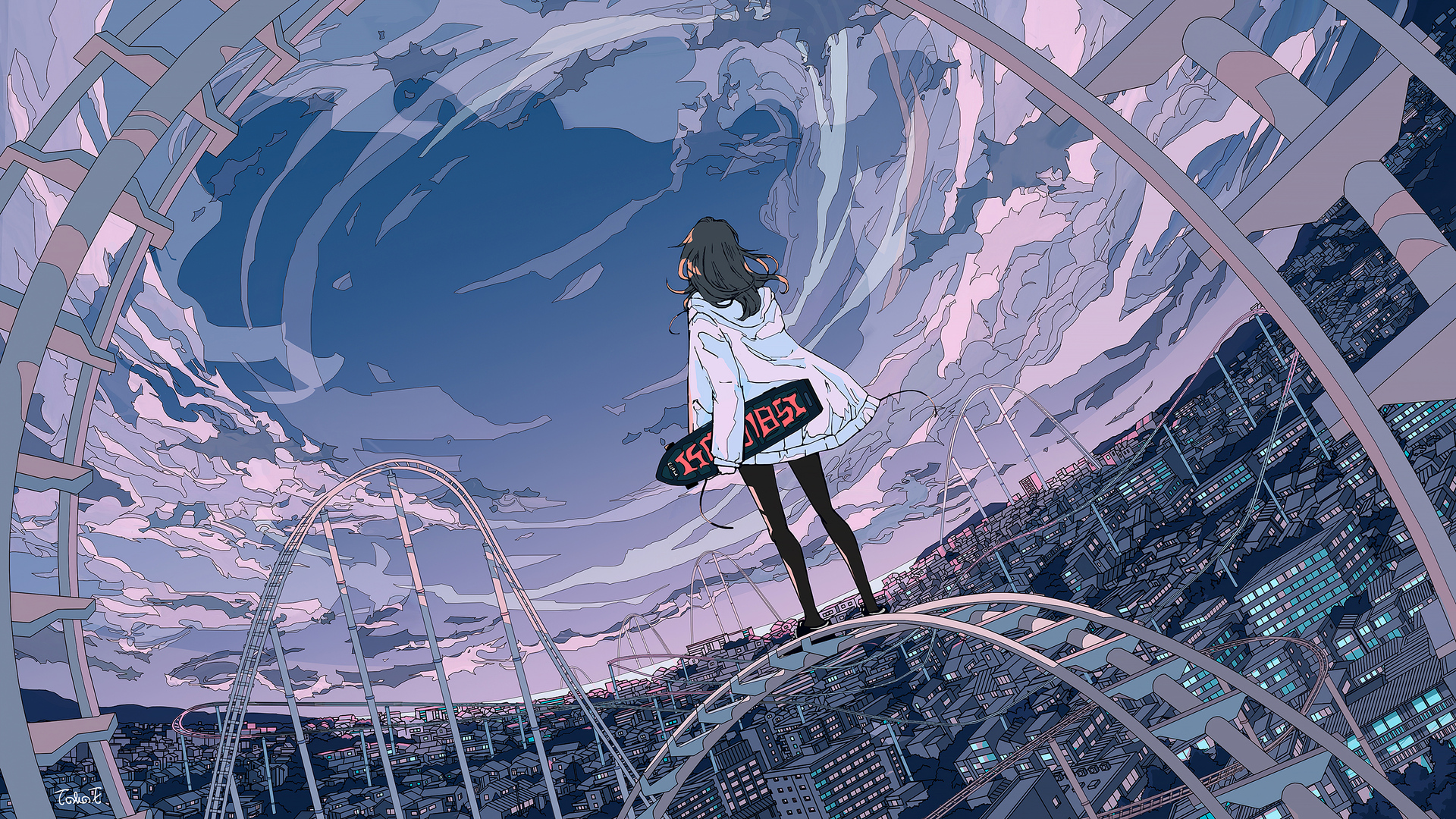 1920x1080 Skyline Anime Girl Skateboard 5k Laptop Full Hd 1080p Hd 4k Wallpapers Images Backgrounds Photos And Pictures