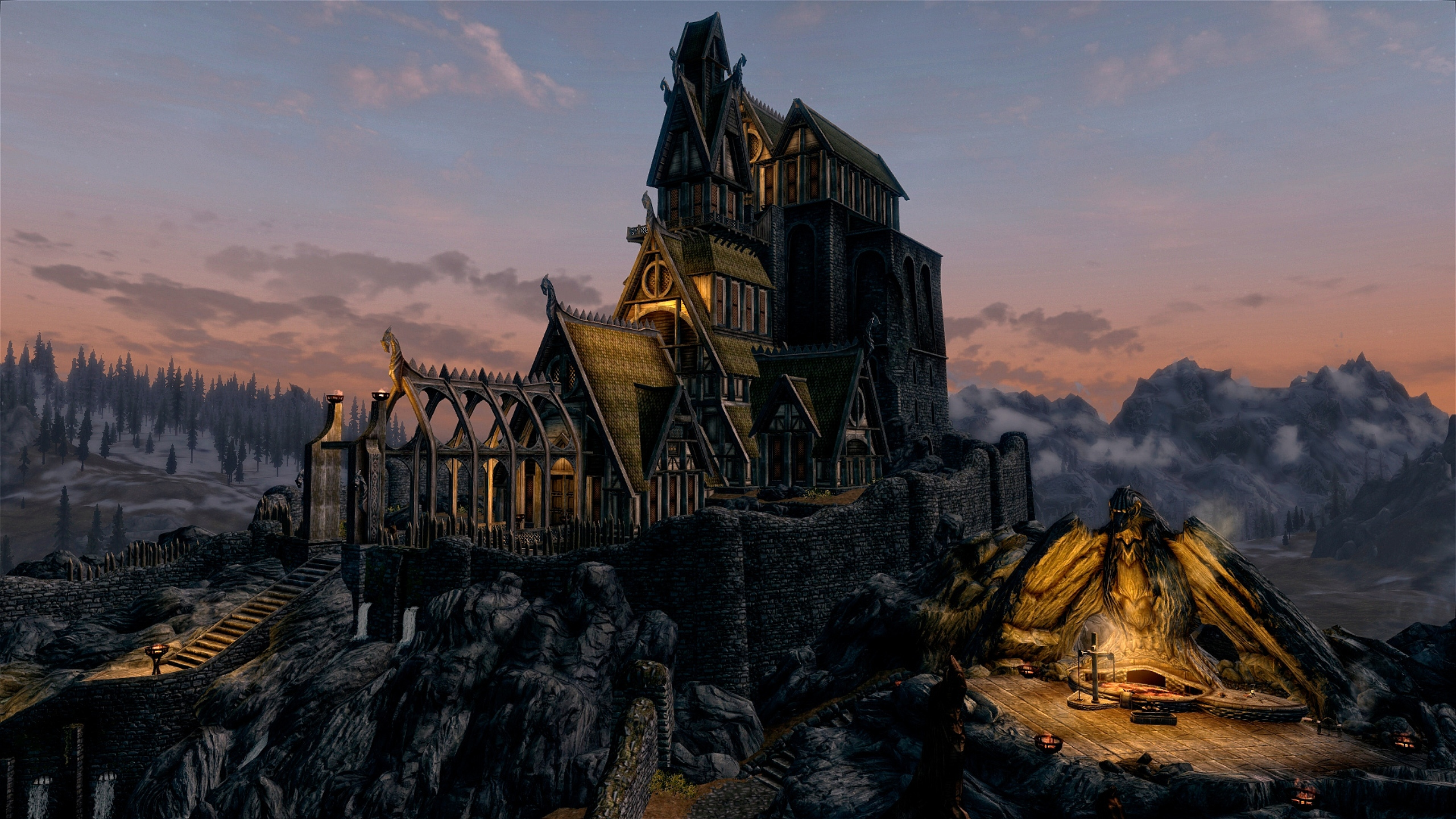 2560x1440 Skyrim Buildings 1440p Resolution Hd 4k Wallpapers Images Backgrounds Photos And Pictures