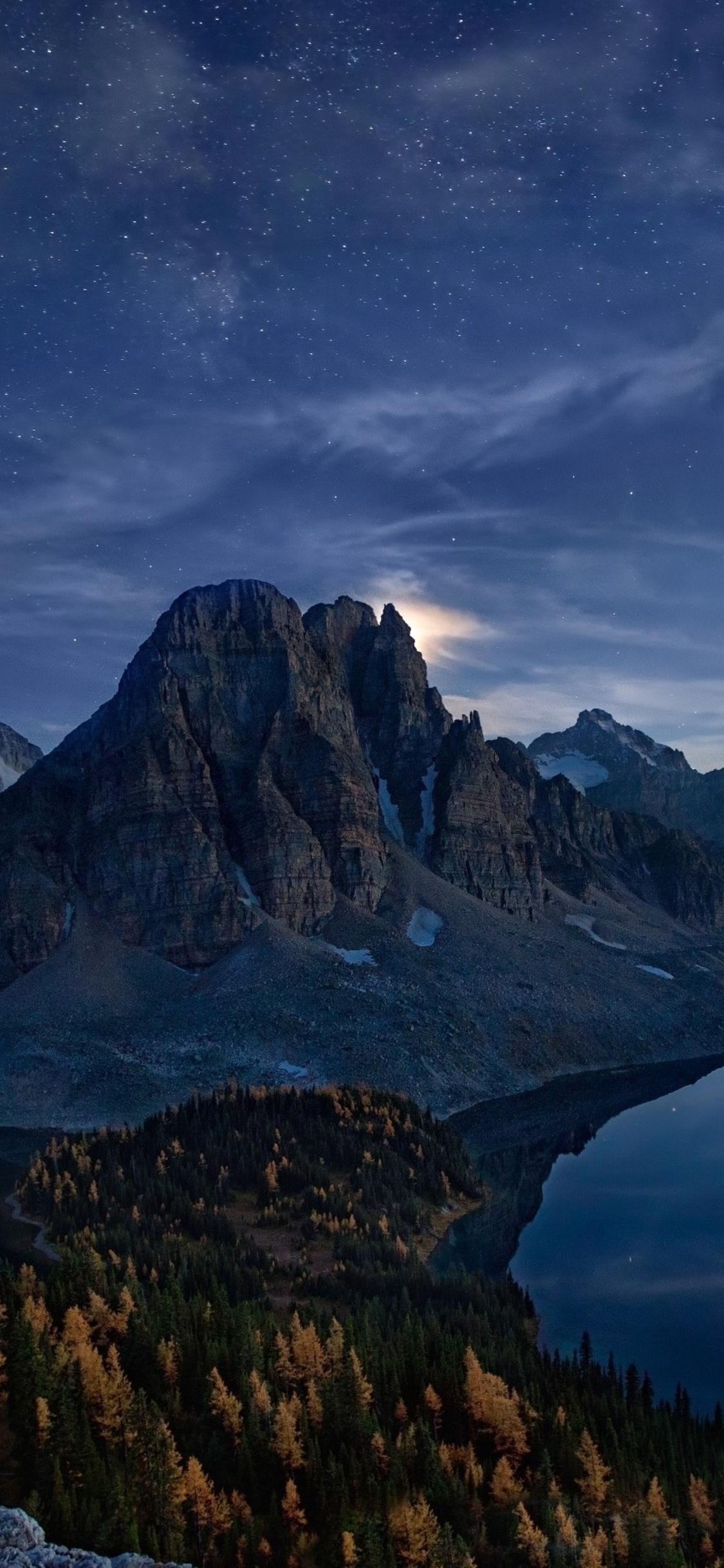 1125x2436 Snowy Peak Starry Night Landscape Iphone Xs Iphone