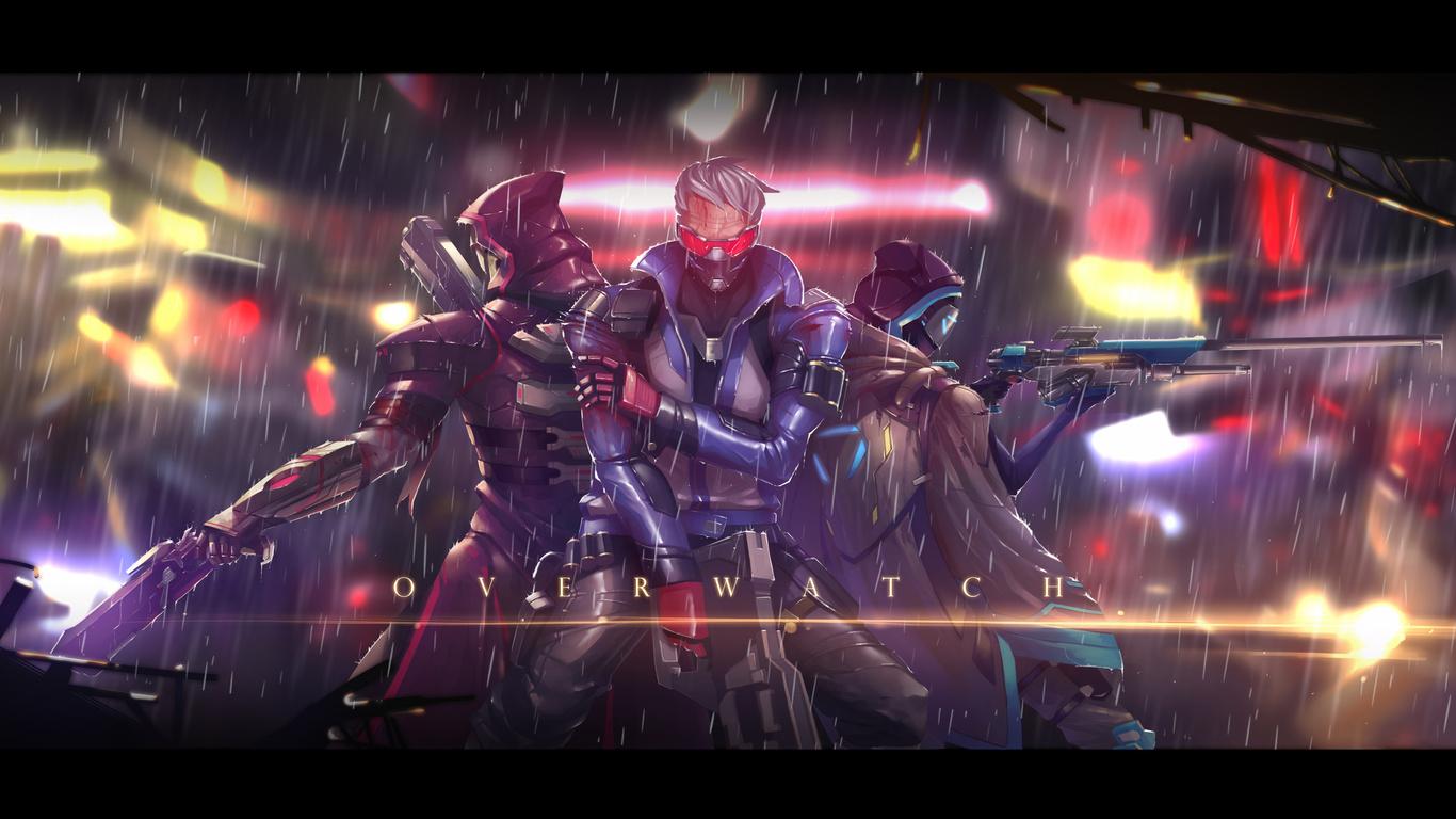 1366x768 Soldier 76 Ana Reaper Overwatch 1366x768 Resolution