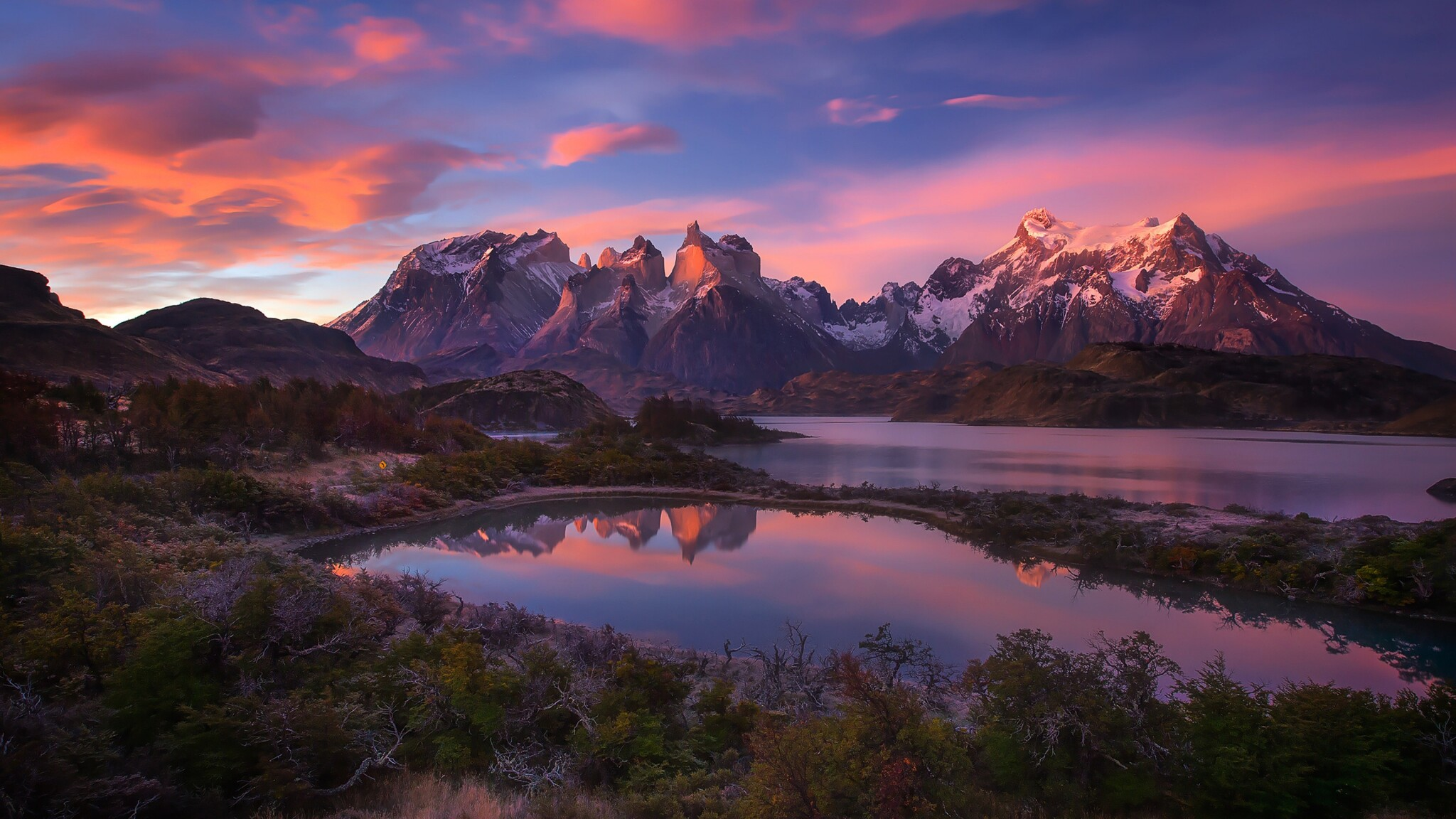 2048x1152 South America Patagonia Andes Mountains Lake 2048x1152