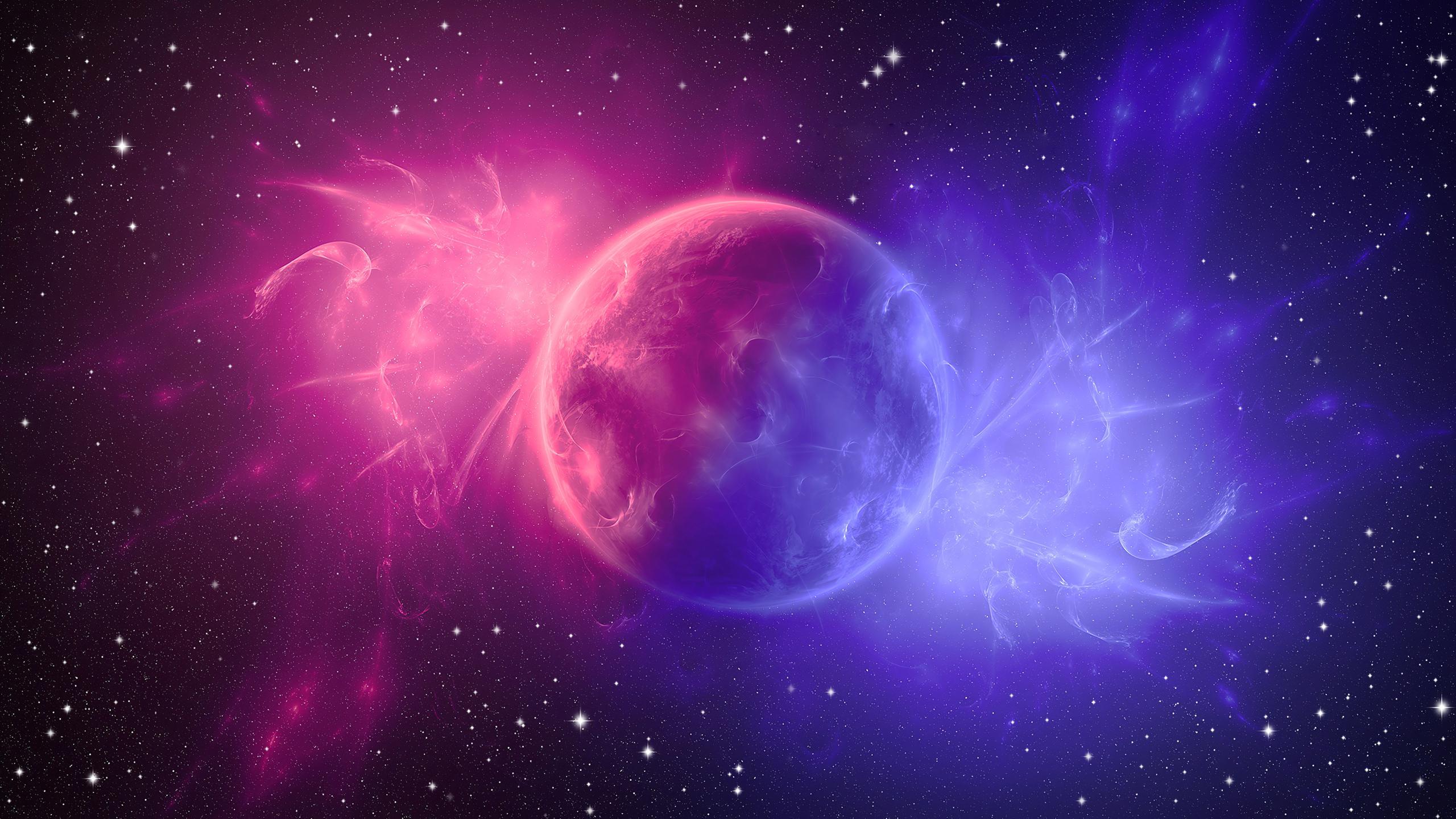 2560x1440 Space Digital Art Pink Planet 4k 1440P ...