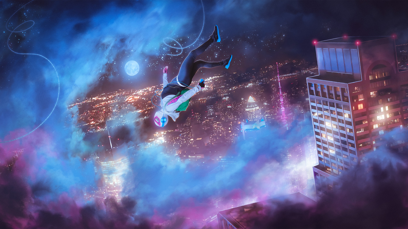 Into The Spider Verse X Wallpaper Iwallpaper: 1366x768 Spider Gwen Into The Spider Verse 1366x768