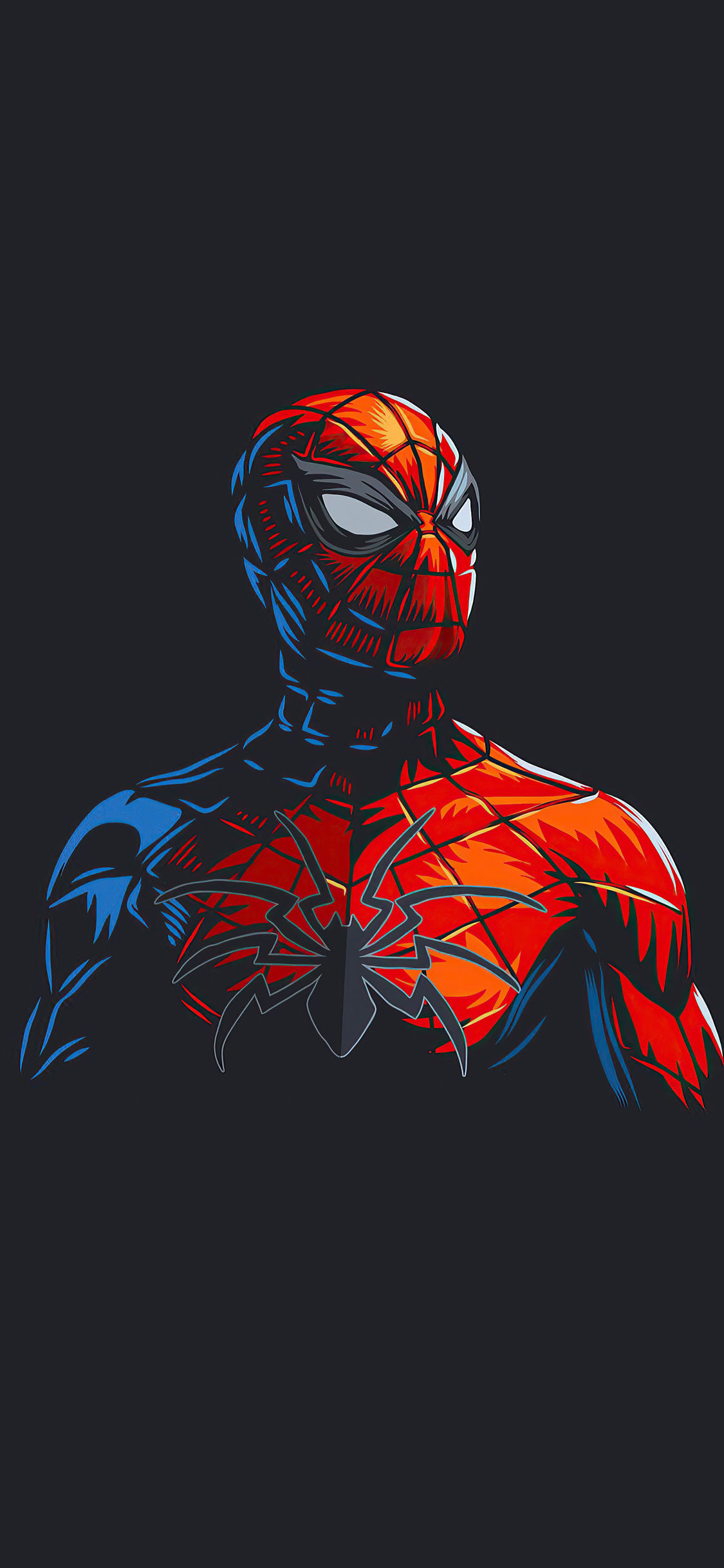 1125x2436 Spider Man Red Minimalism ...