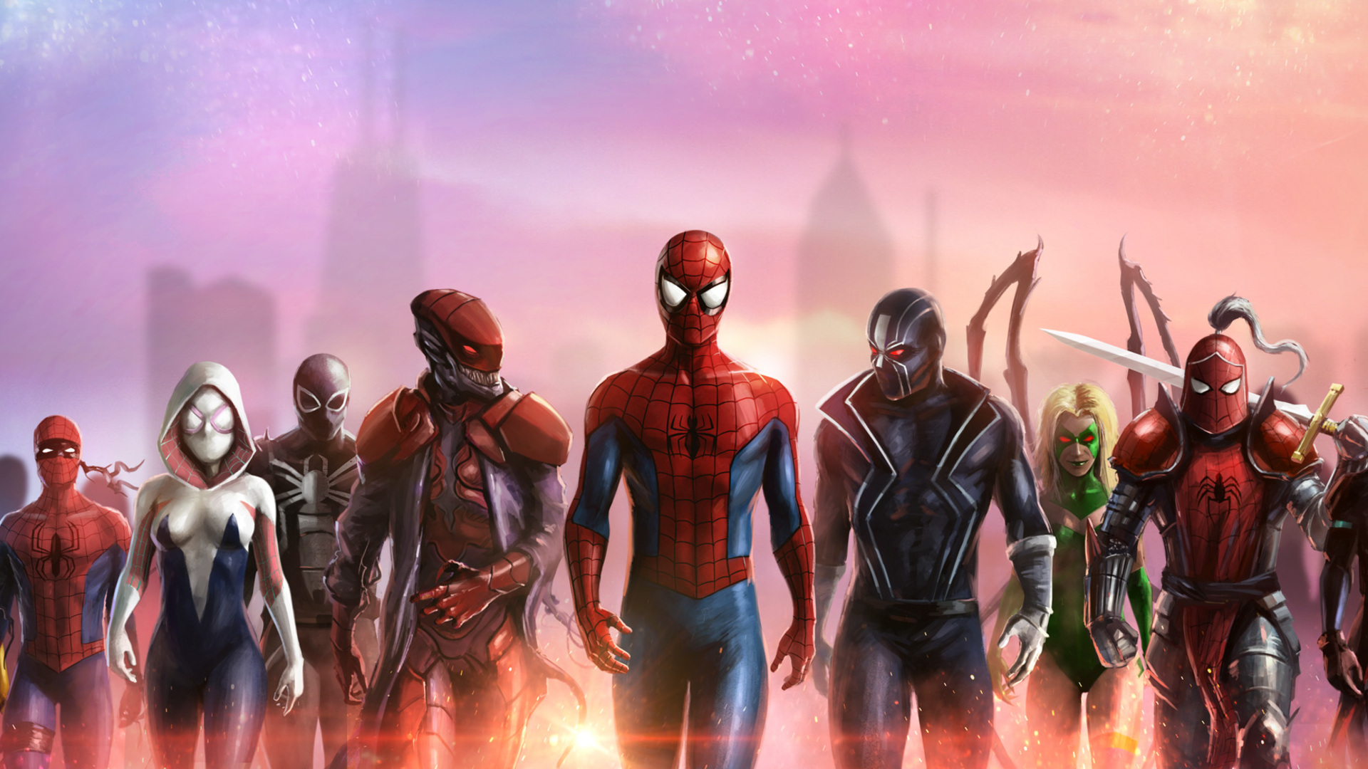 1920x1080 Spiderman And His Team Laptop Full Hd 1080p Hd 4k