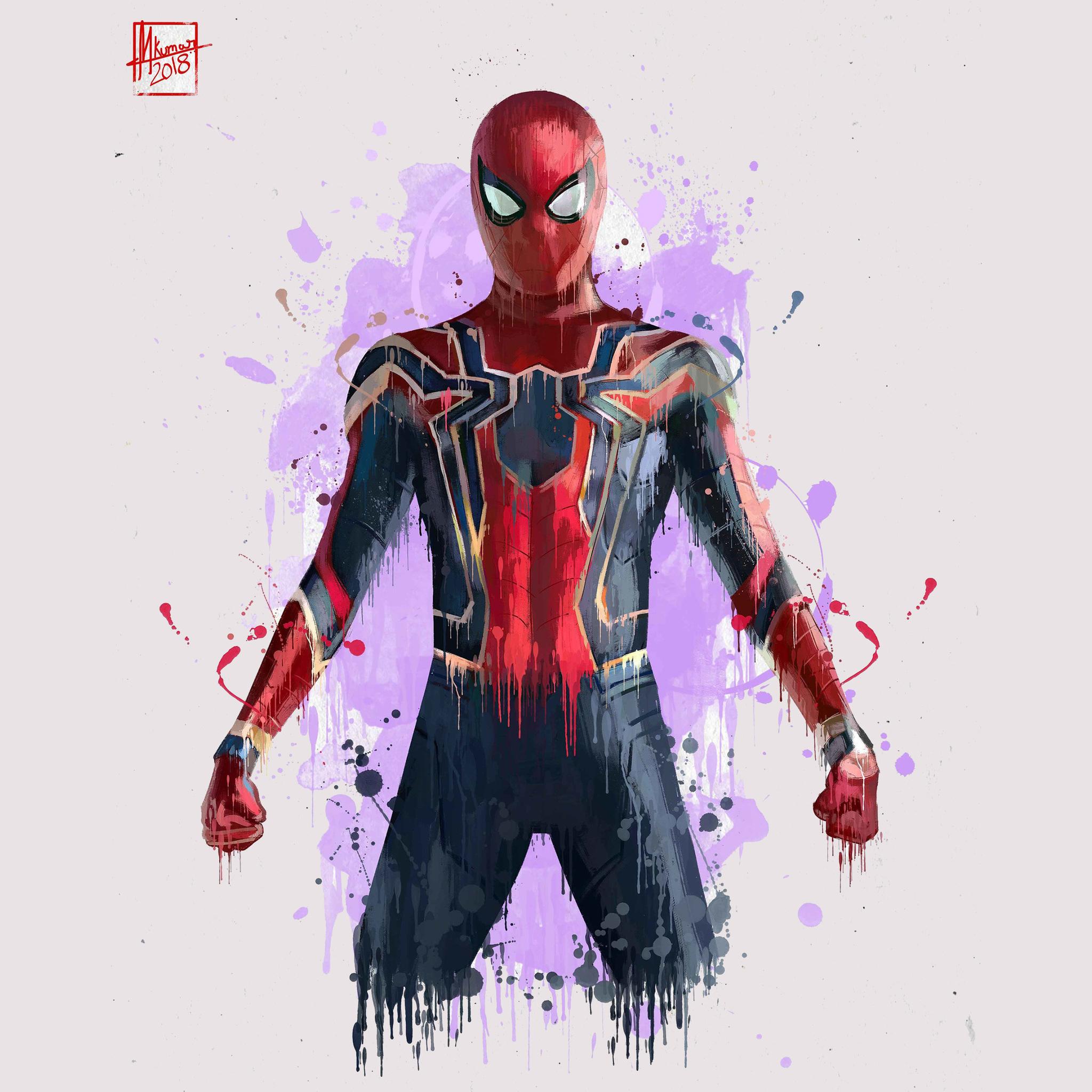 2048x2048 Spiderman In Avengers Infinity War 2018 Artwork