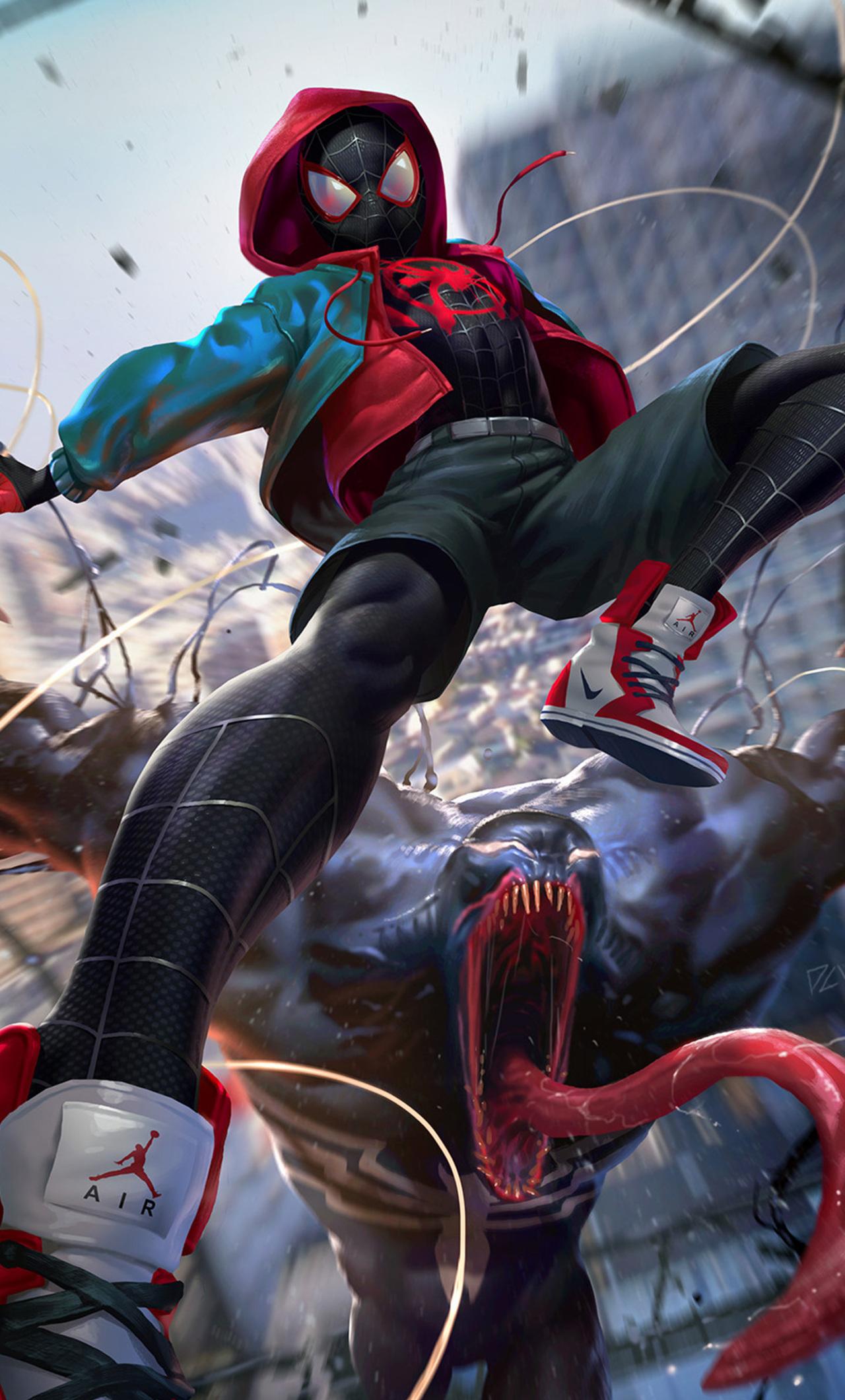 1280x2120 SpiderMan Into The Spider Verse Digital Art 2018 ...
