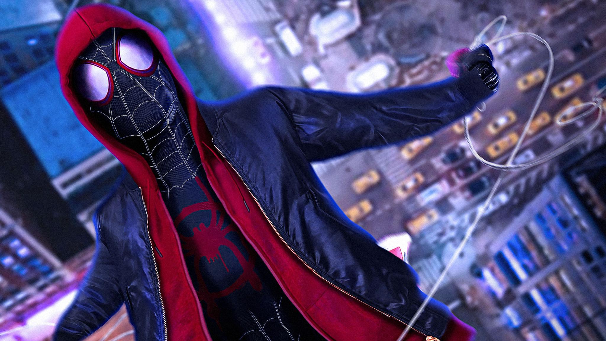 2048x1152 SpiderMan Into The Spider Verse Movie Cosplay