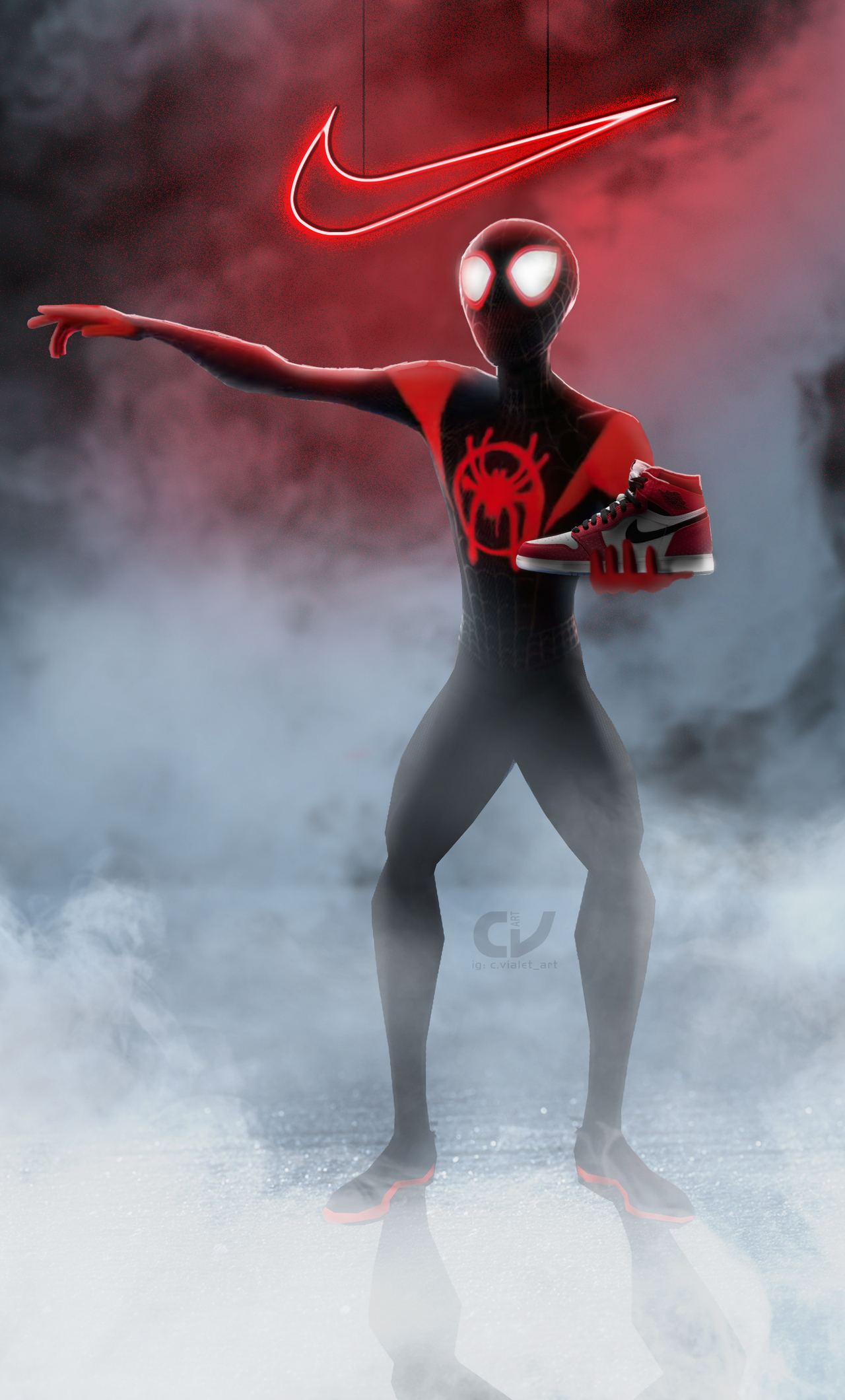 1280x2120 Spiderman Miles Morales Nike Air Jordan iPhone 6 ...