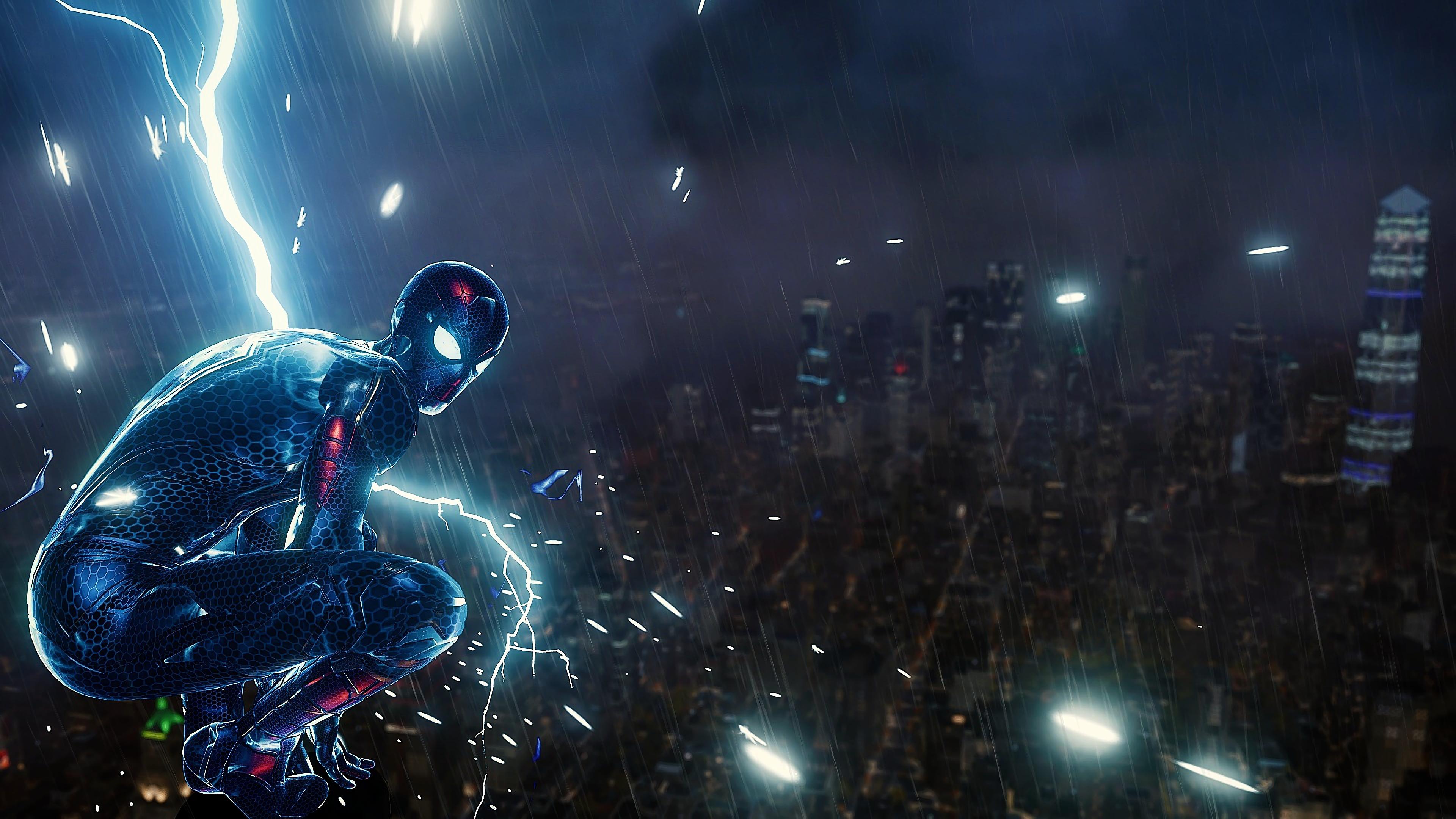 3840x2160 Spiderman Ps4 Lighting 4k HD 4k Wallpapers ...