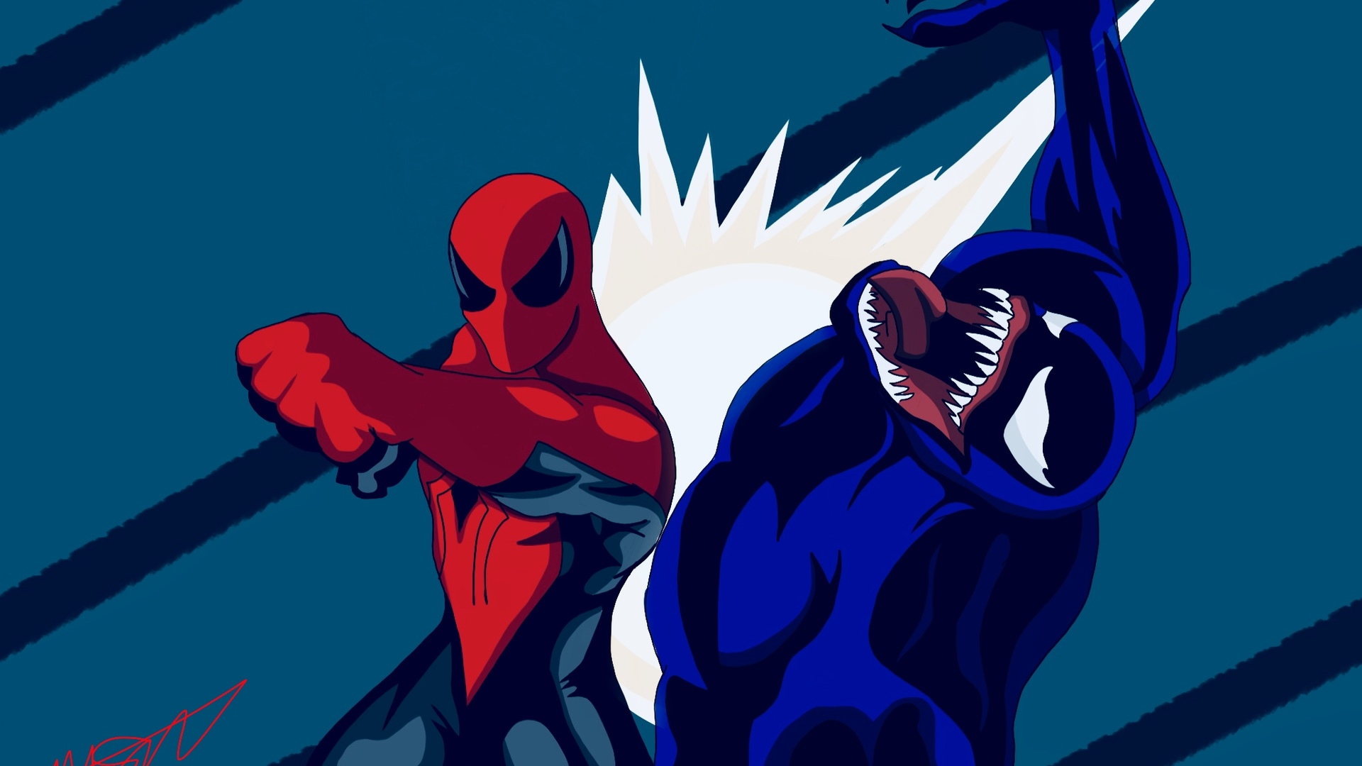Spiderman Vs Venom Artwork Laptop Full HD 1080P HD 4k