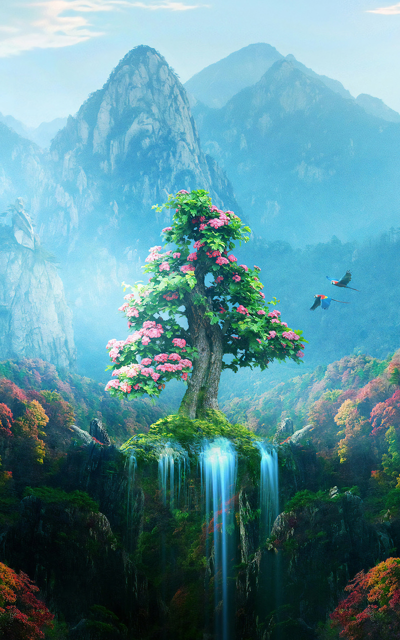 800x1280 Spring Autumn Colorful Nature Magical Forest 4k
