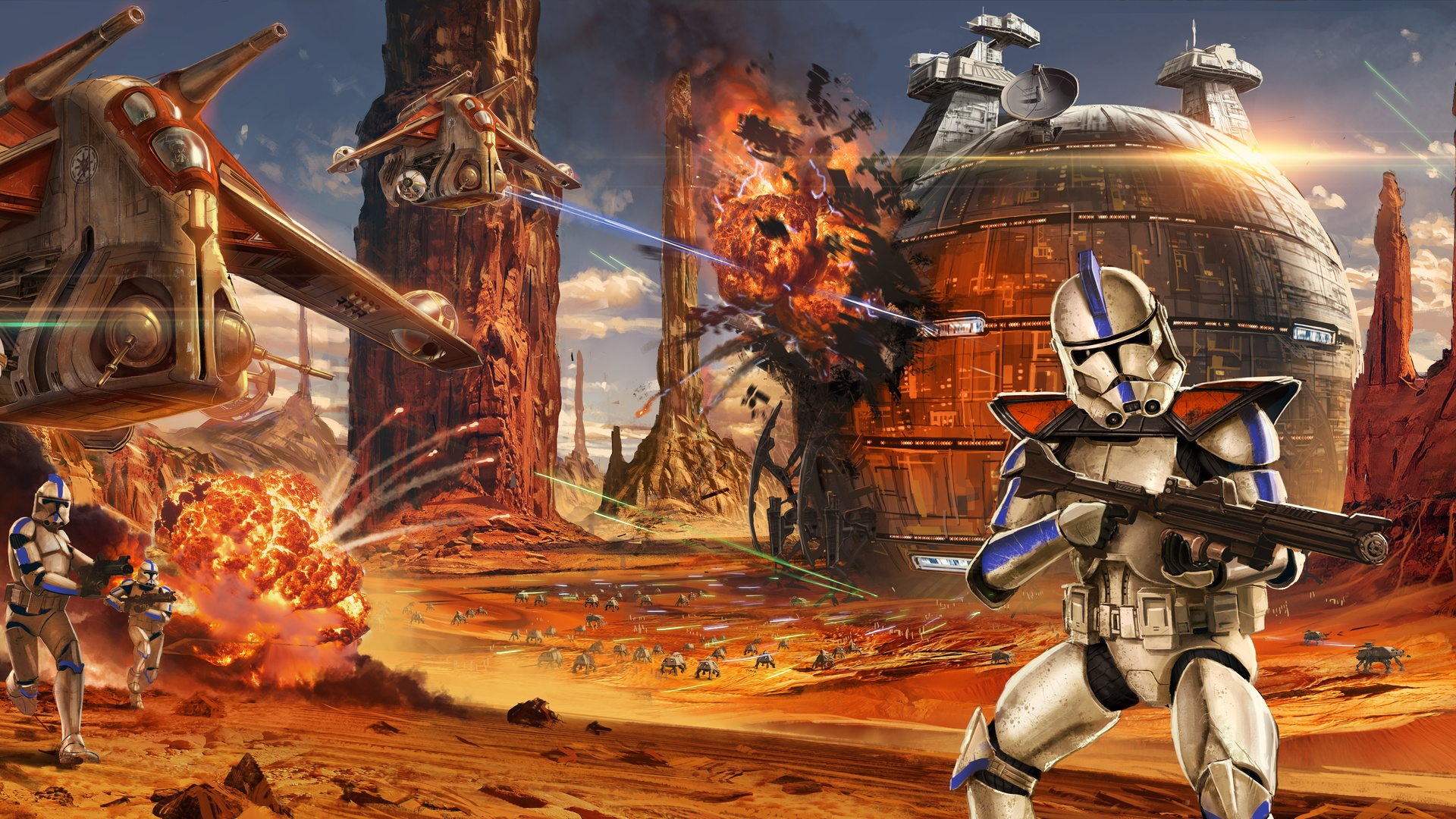 1920x1080 Star Wars Artwork Geonosis Clone Trooper Laptop