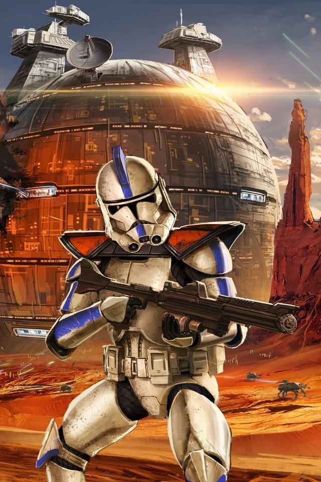 640x960 Star Wars Artwork Geonosis Clone Trooper Iphone 4 Iphone 4s