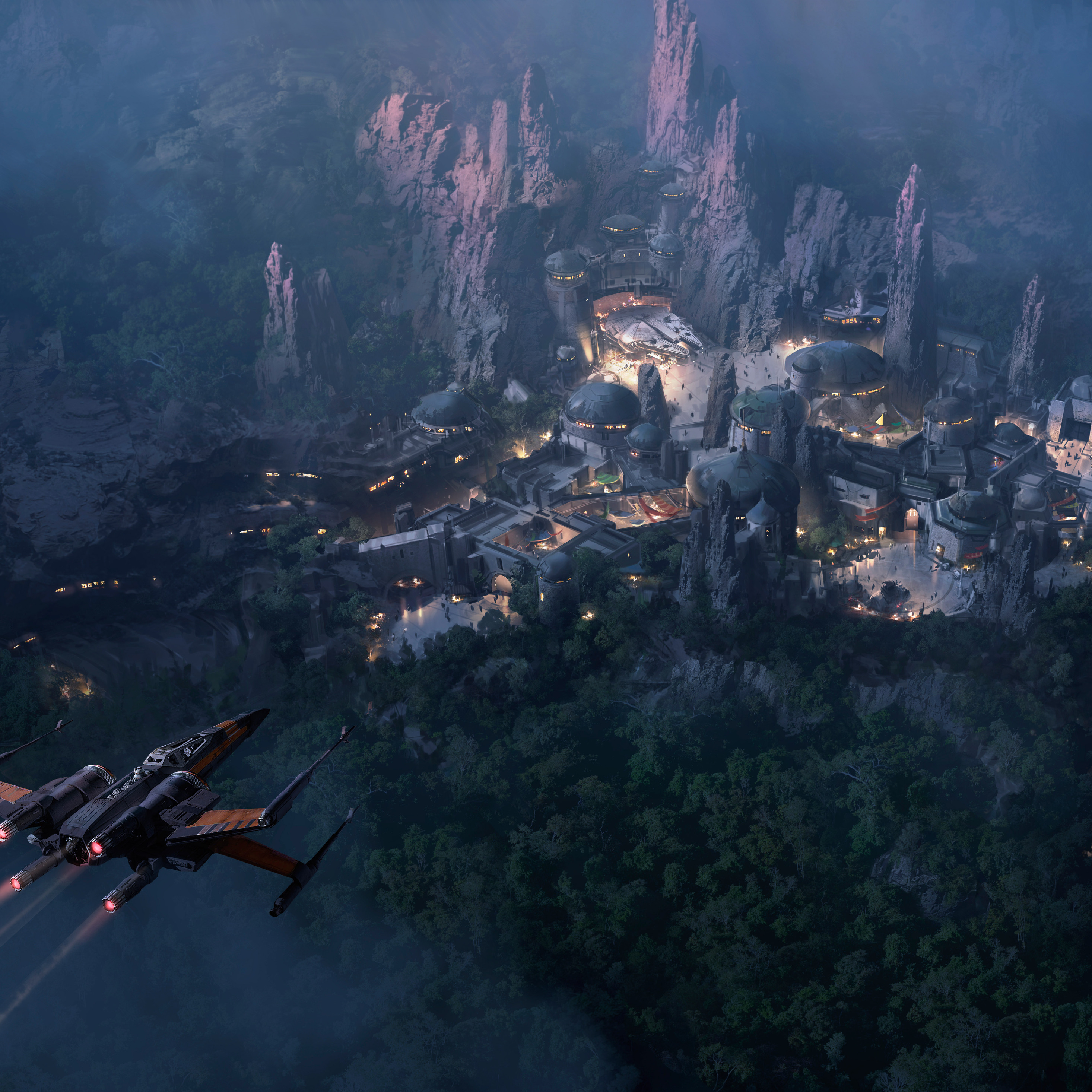 2932x2932 Star Wars Land At Night Concept Art 5k Ipad Pro Retina