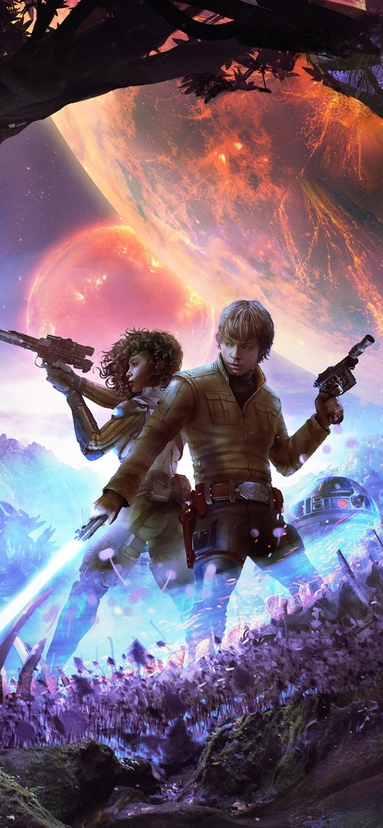 1242x2688 Star Wars Luke Skywalker R2 D2 Scifi Artwork