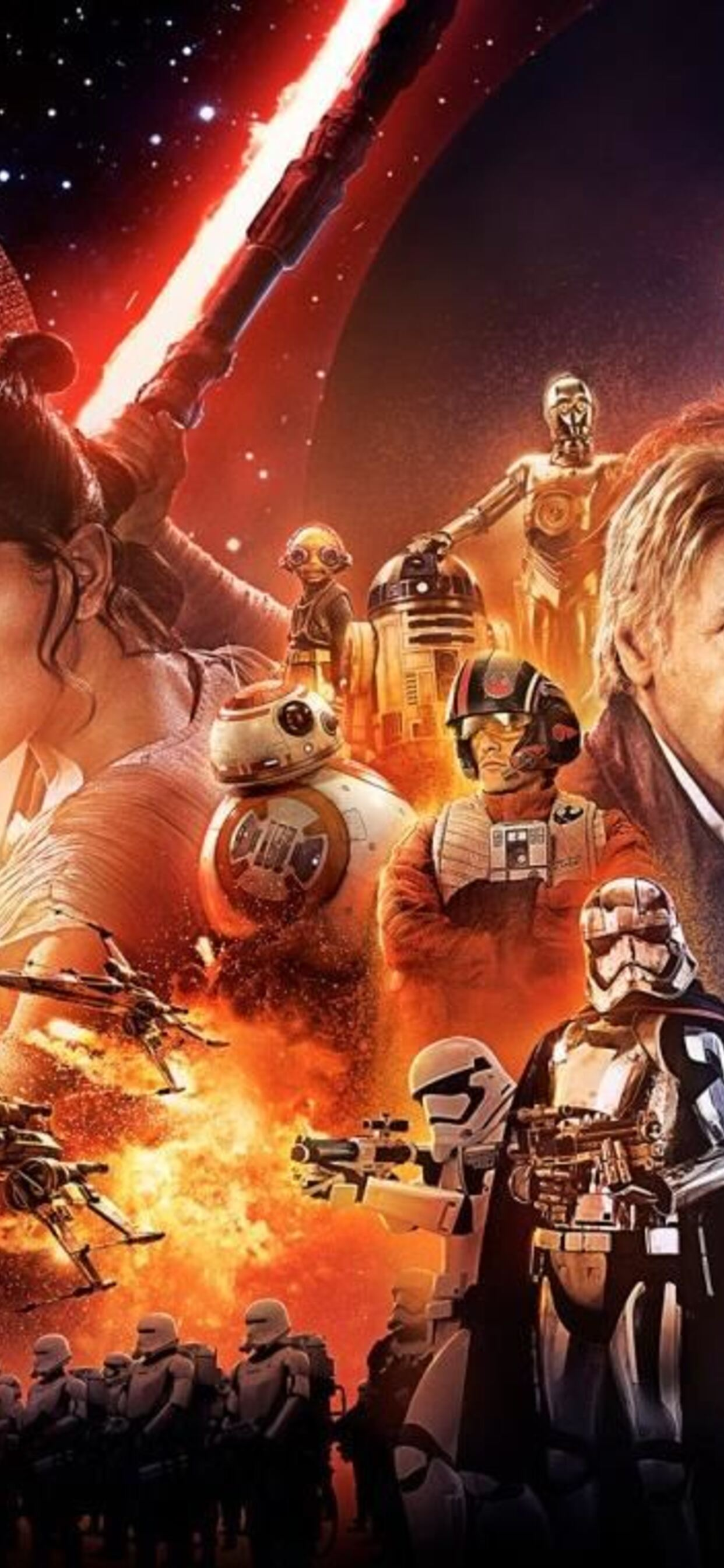 1242x2688 Star Wars The Force Awakens Poster Iphone Xs Max