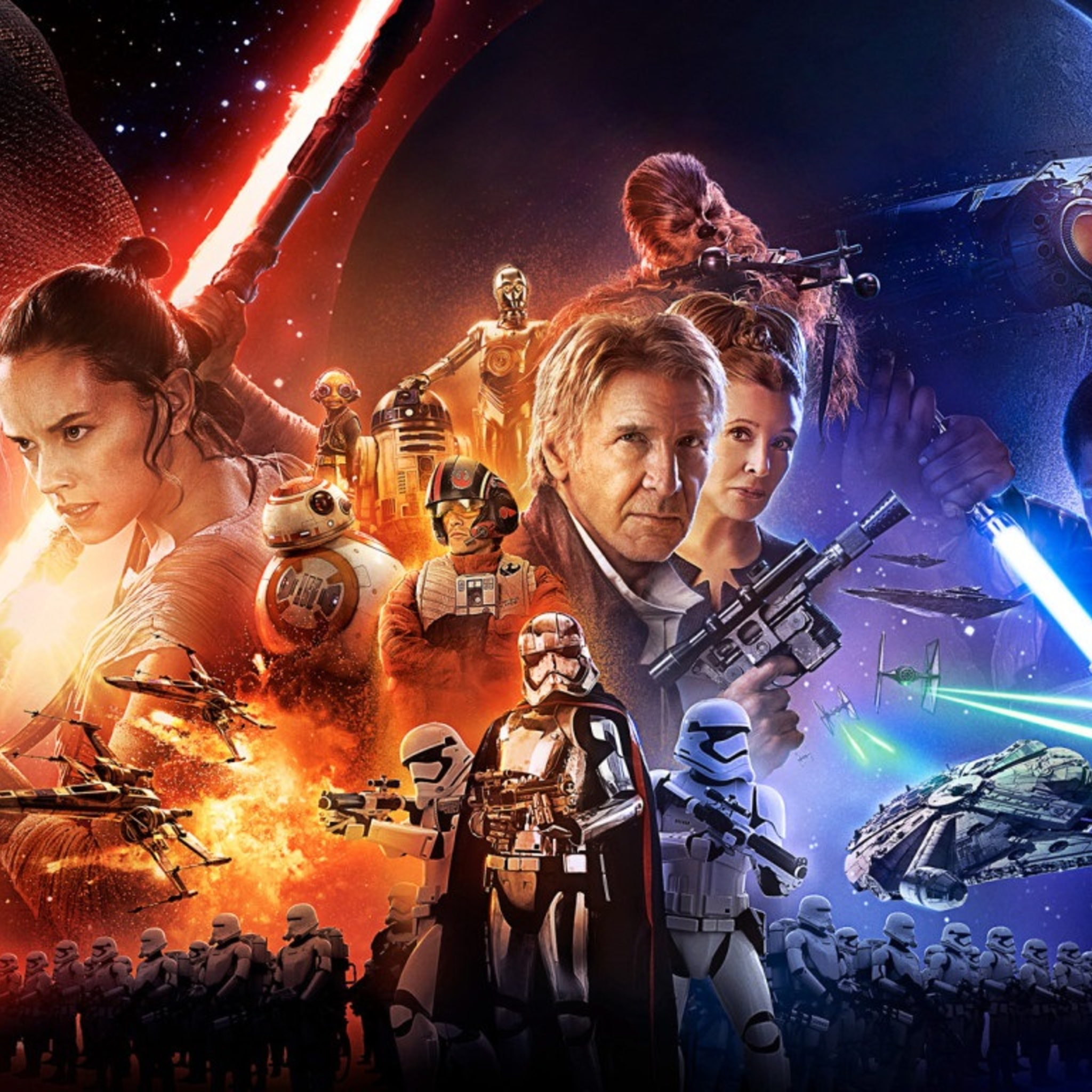 2048x2048 star wars the force awakens poster ipad air hd 4k