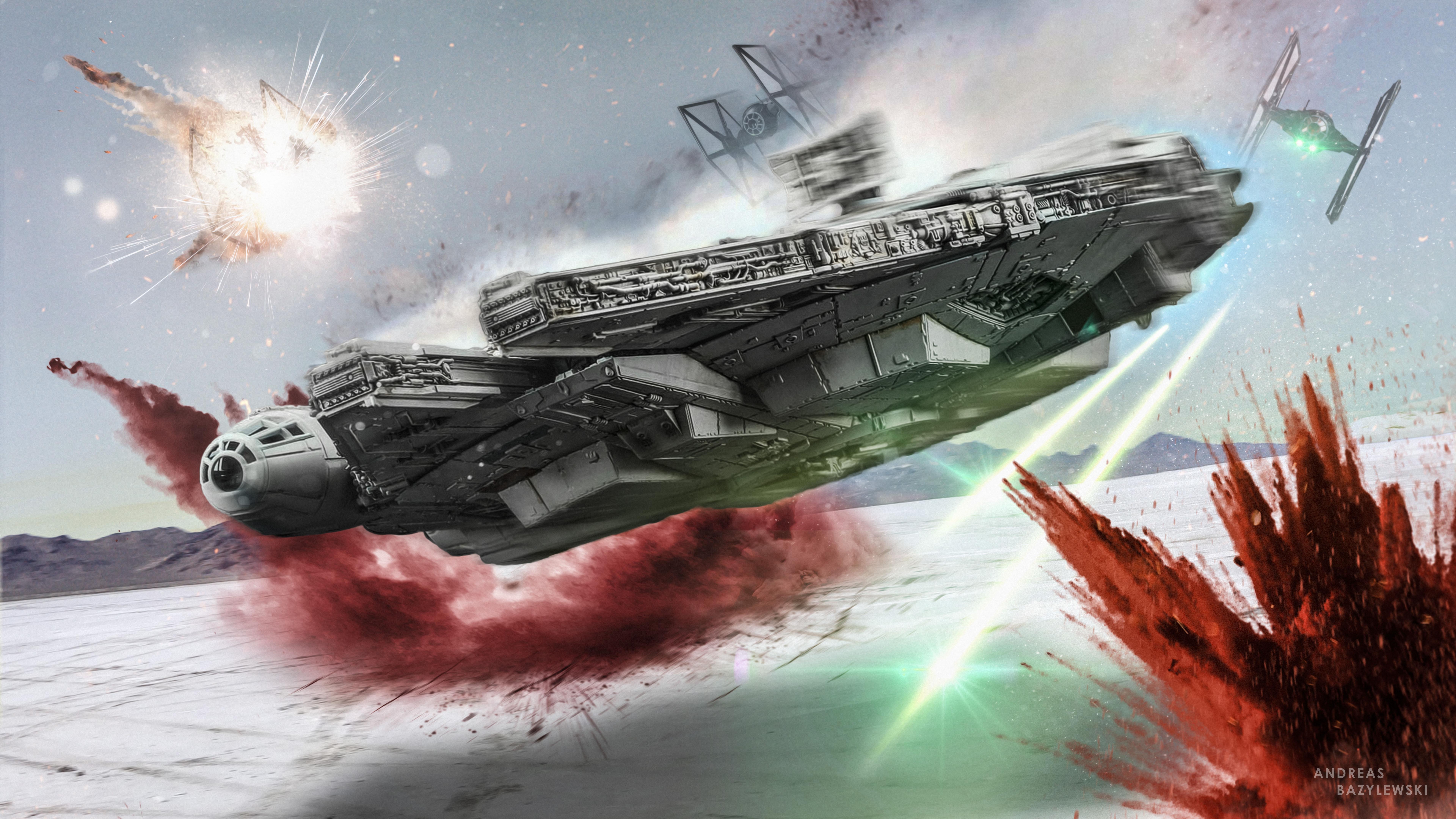 7680x4320 Star Wars The Last Jedi Millennium Falcon 8k Hd 4k