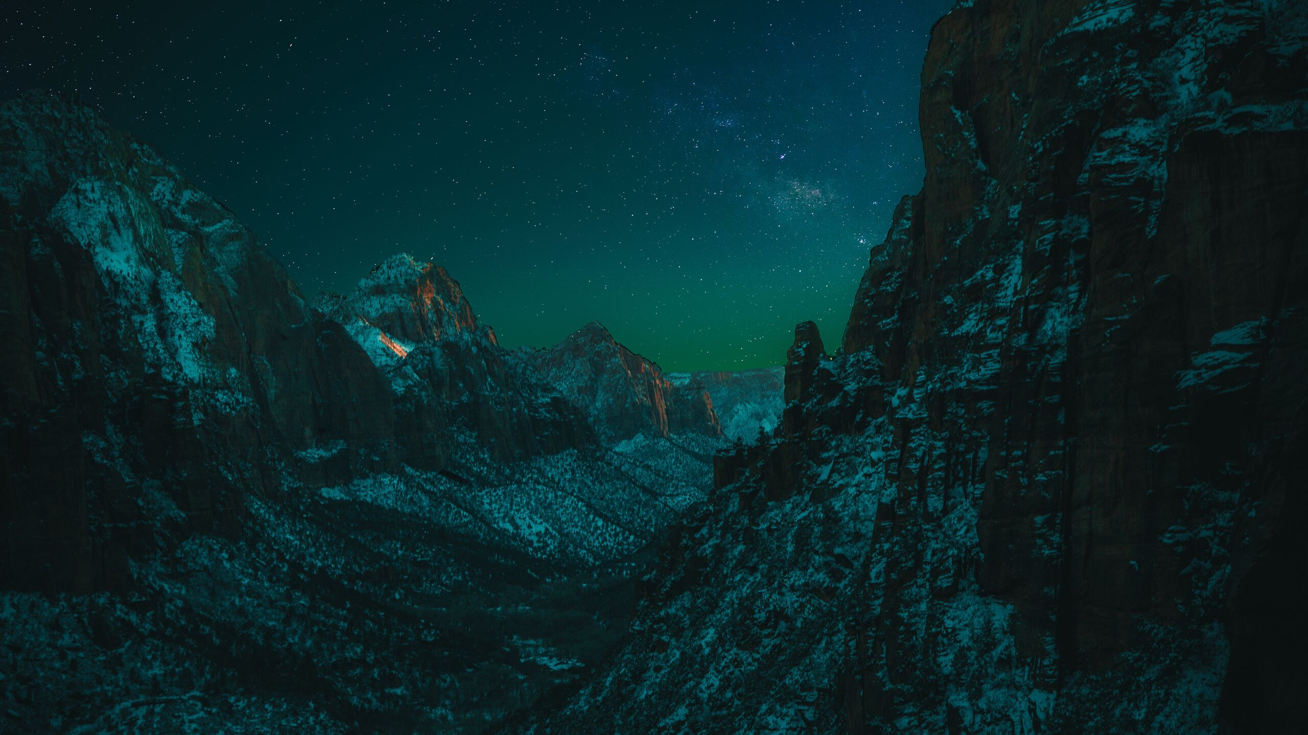 2560x1440 Starry Night In Zion National Park 5k 1440p