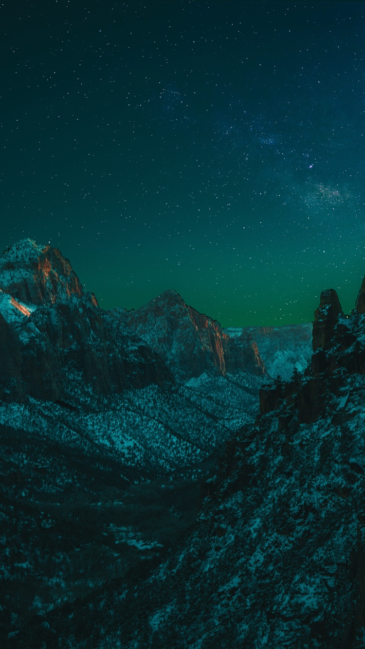 750x1334 Starry Night In Zion National Park 5k Iphone 6