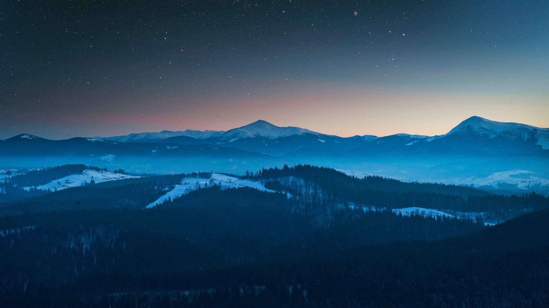 1920x1080 Stars In The Sky Foggy Season Forest Mountains ...