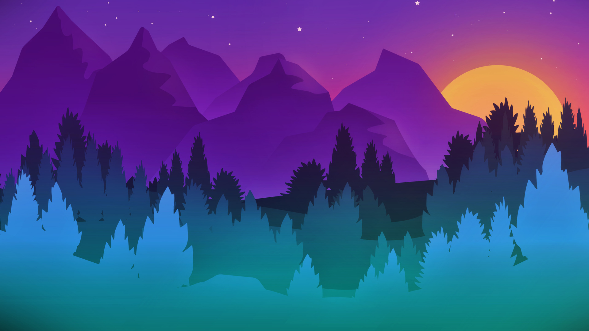 1920x1080 Stars Mountains Trees Colorful Minimalist ...