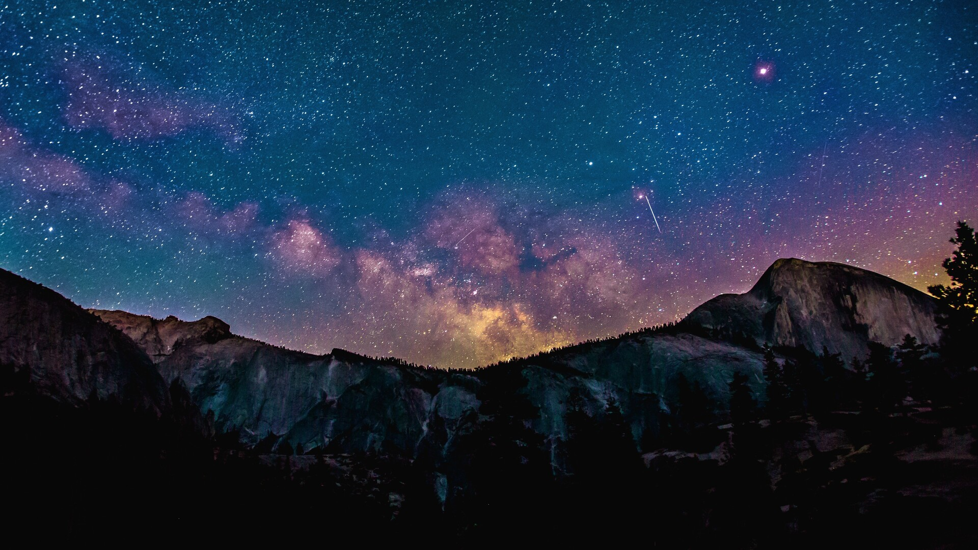 1920x1080 Stars Space Landscape Mountains Laptop Full Hd