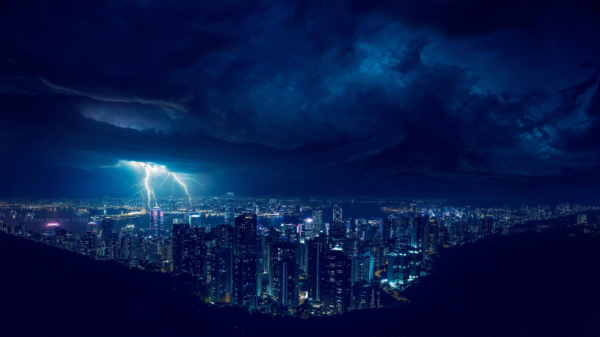 1920x1080 storm night lightning in city 4k laptop full hd 1080p hd 4k wallpapers images - Lightning wallpaper 4k ...