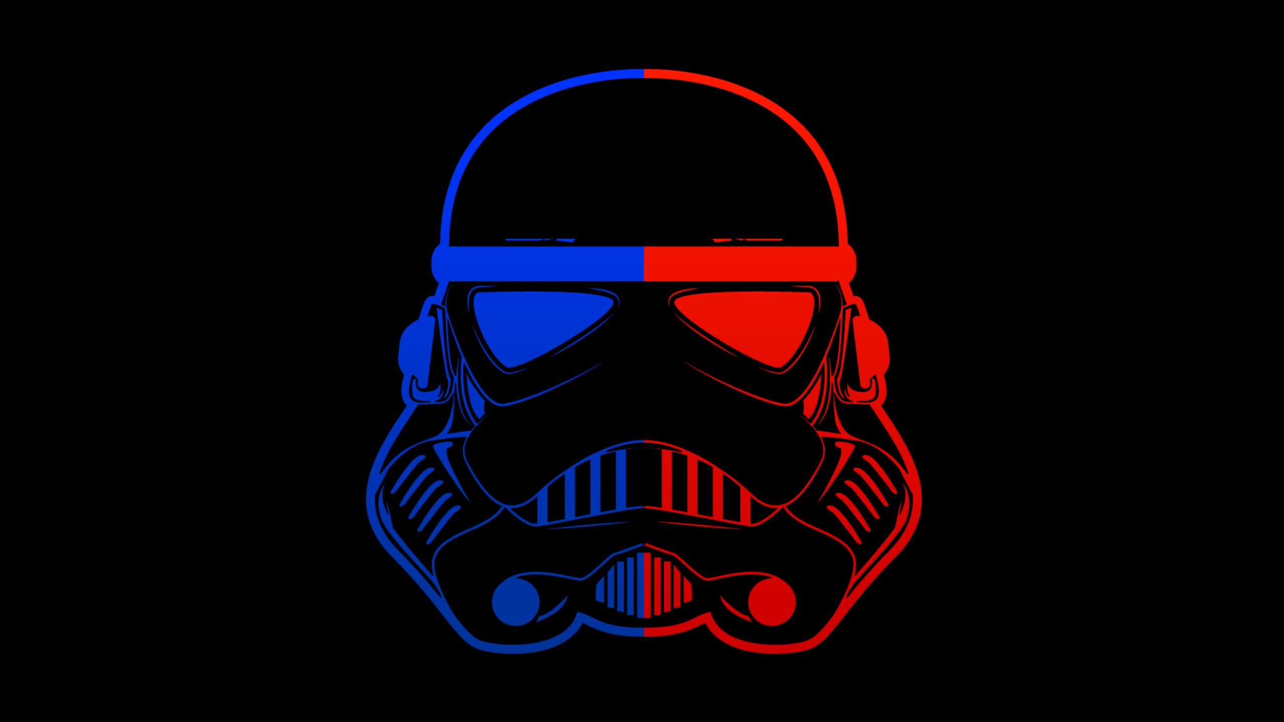 2560x1440 Stormtrooper Blue Red Mask Minimal 8k 1440P ...