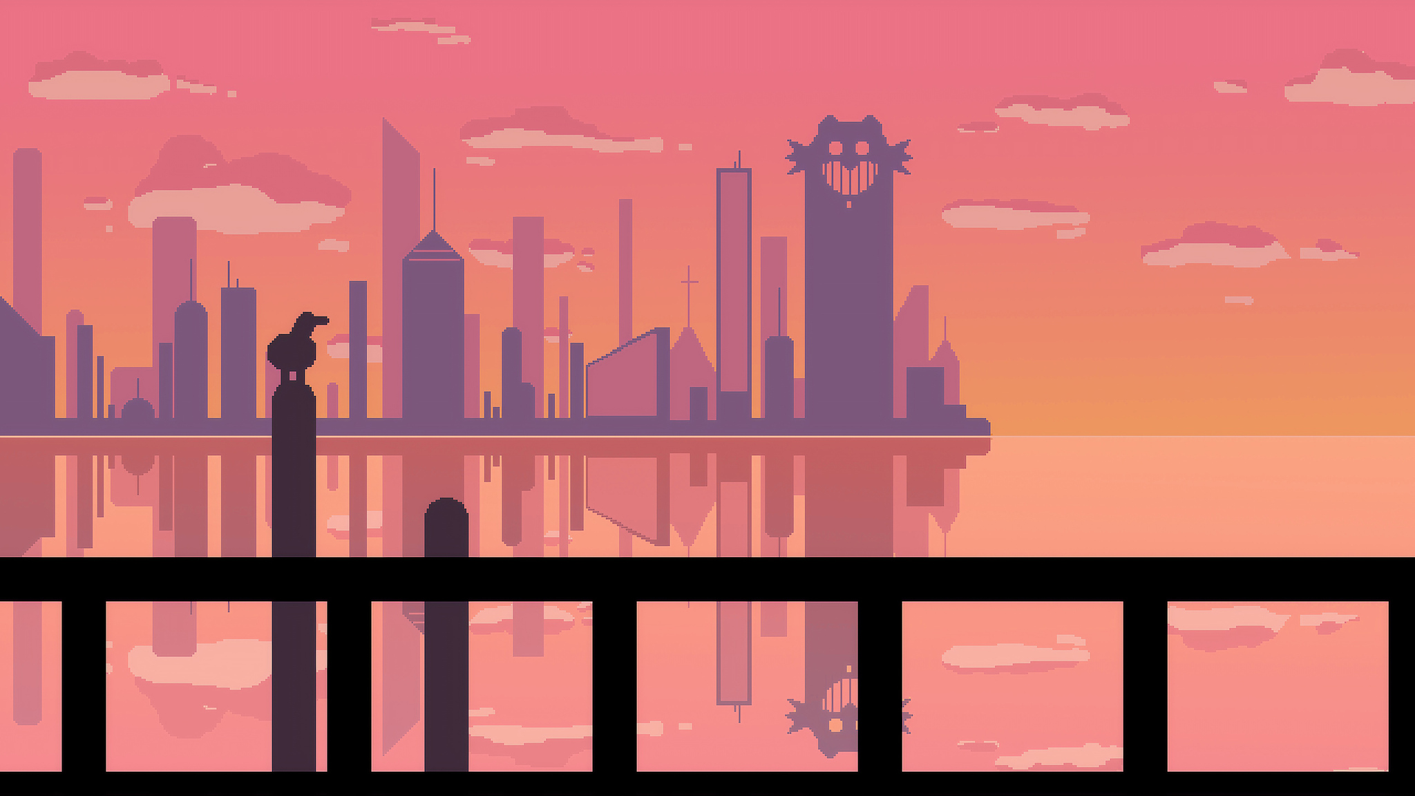 2048x1152 Sunset At Pixel City 2048x1152 Resolution Hd 4k