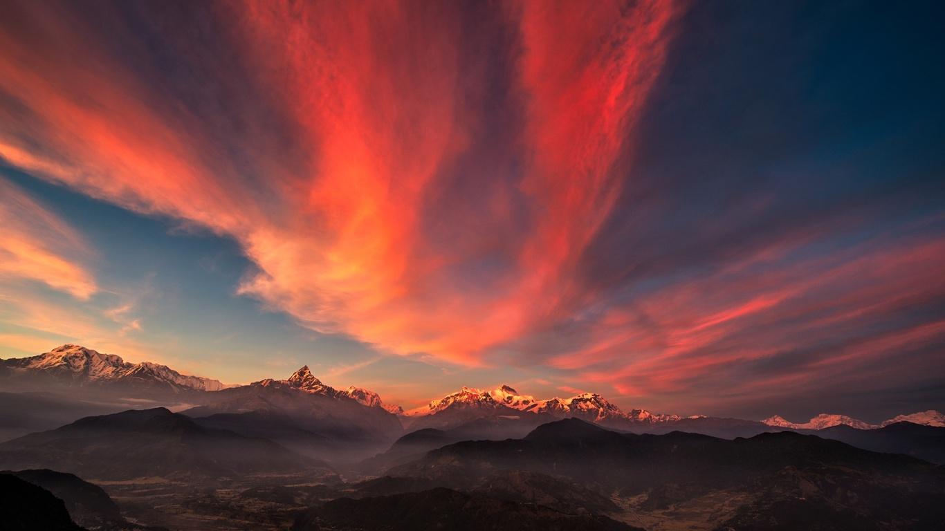 1366x768 Sunset Of Tibet Mountains 1366x768 Resolution Hd 4k