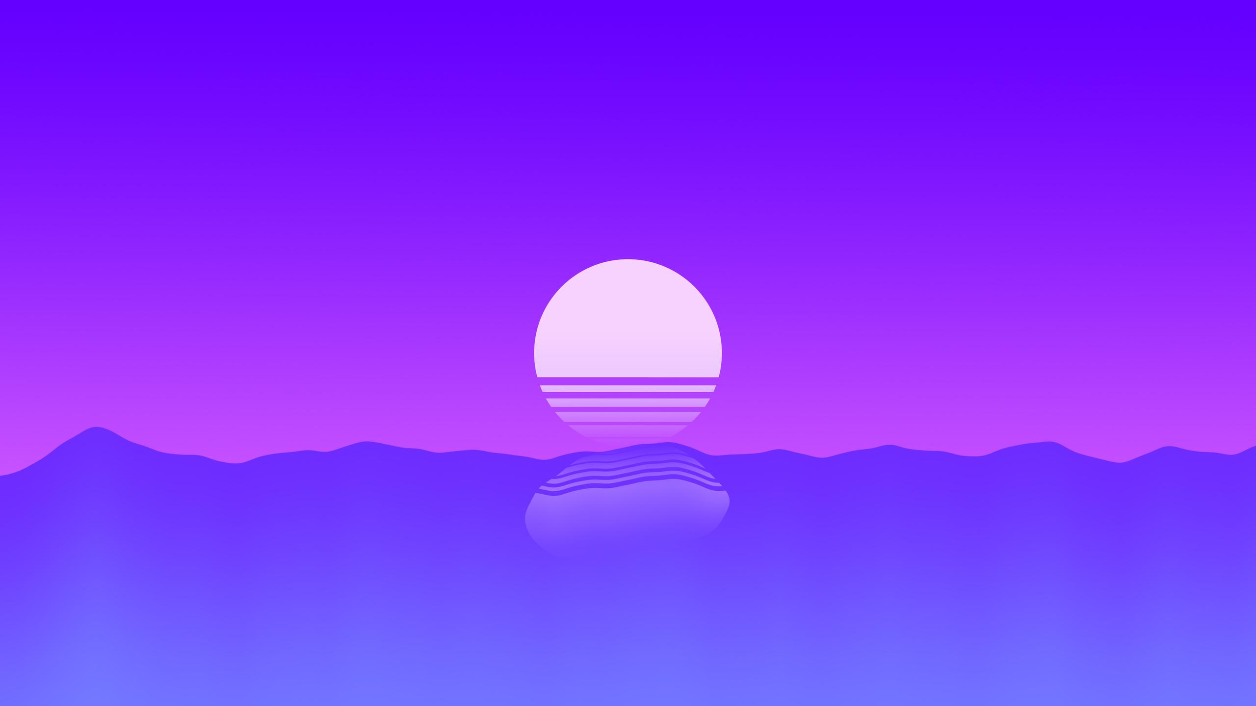 2560x1440 Sunset Outrun Minimalism 4k 1440P Resolution HD ...