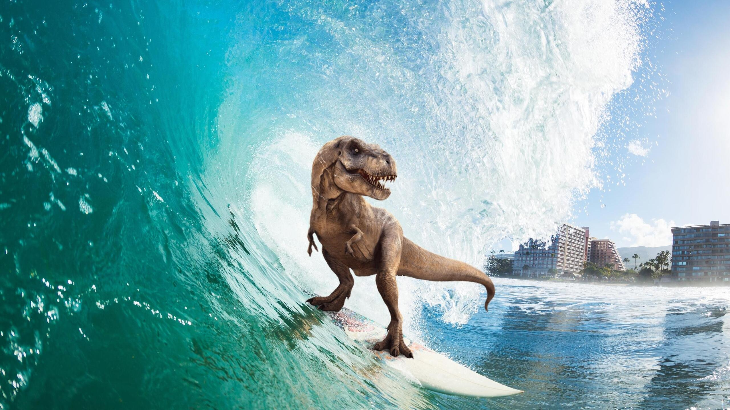 2560x1440 surfing t rex 1440p resolution hd 4k wallpapers, images