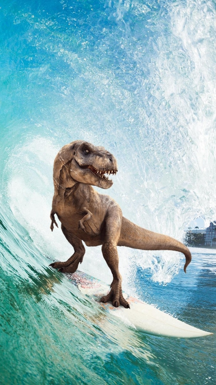 750x1334 Surfing T Rex Iphone 6 Iphone 6s Iphone 7 Hd 4k