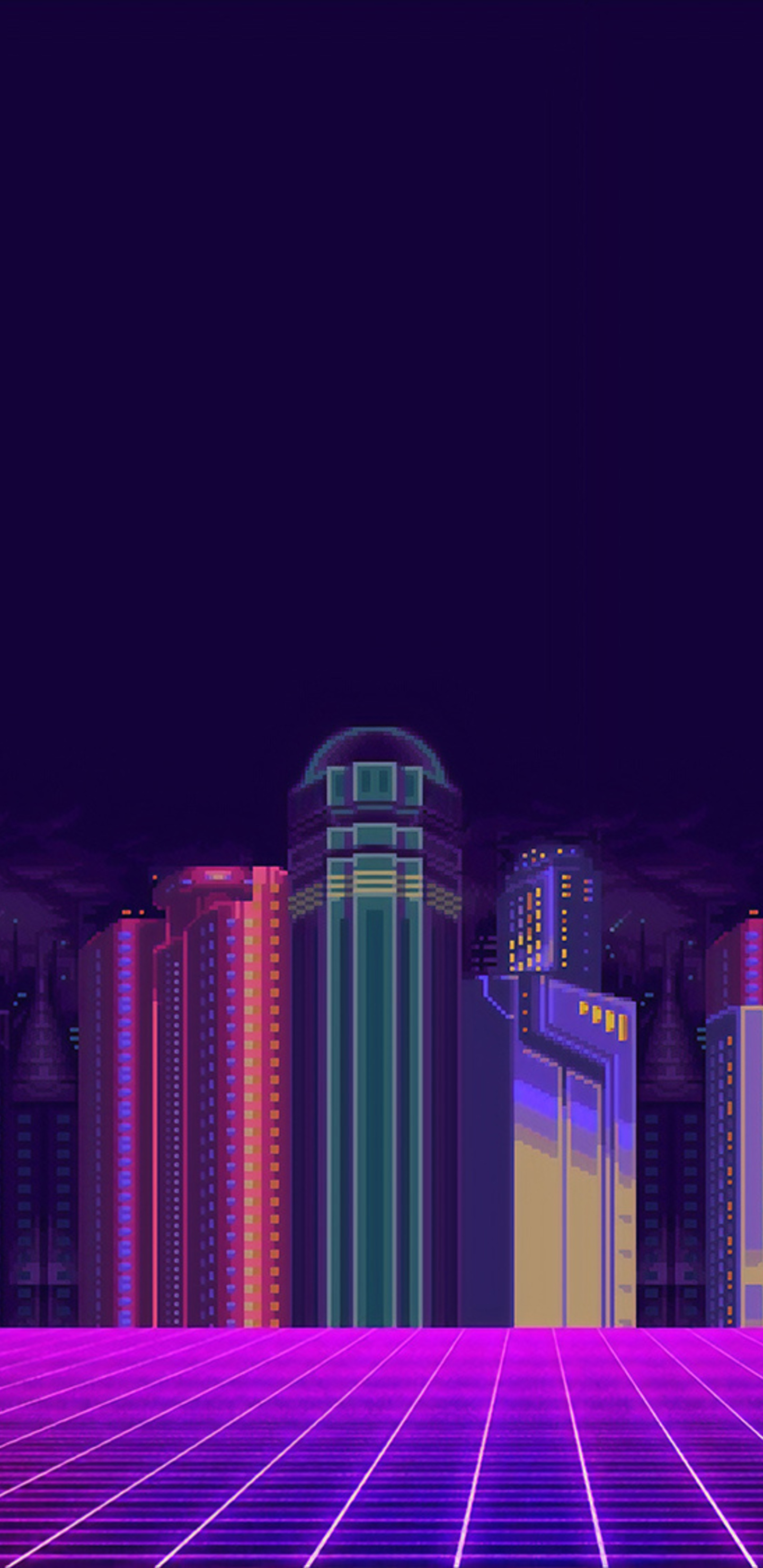 1440x2960 Synthwave Buildings 8 Bit Samsung Galaxy Note 9 8 S9 S8