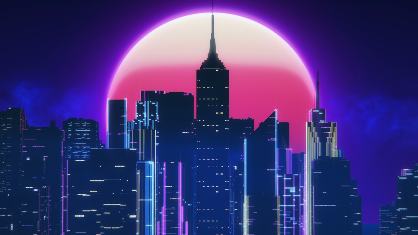 1366x768 Synthwave City Retro Neon 4k 1366x768 Resolution Hd
