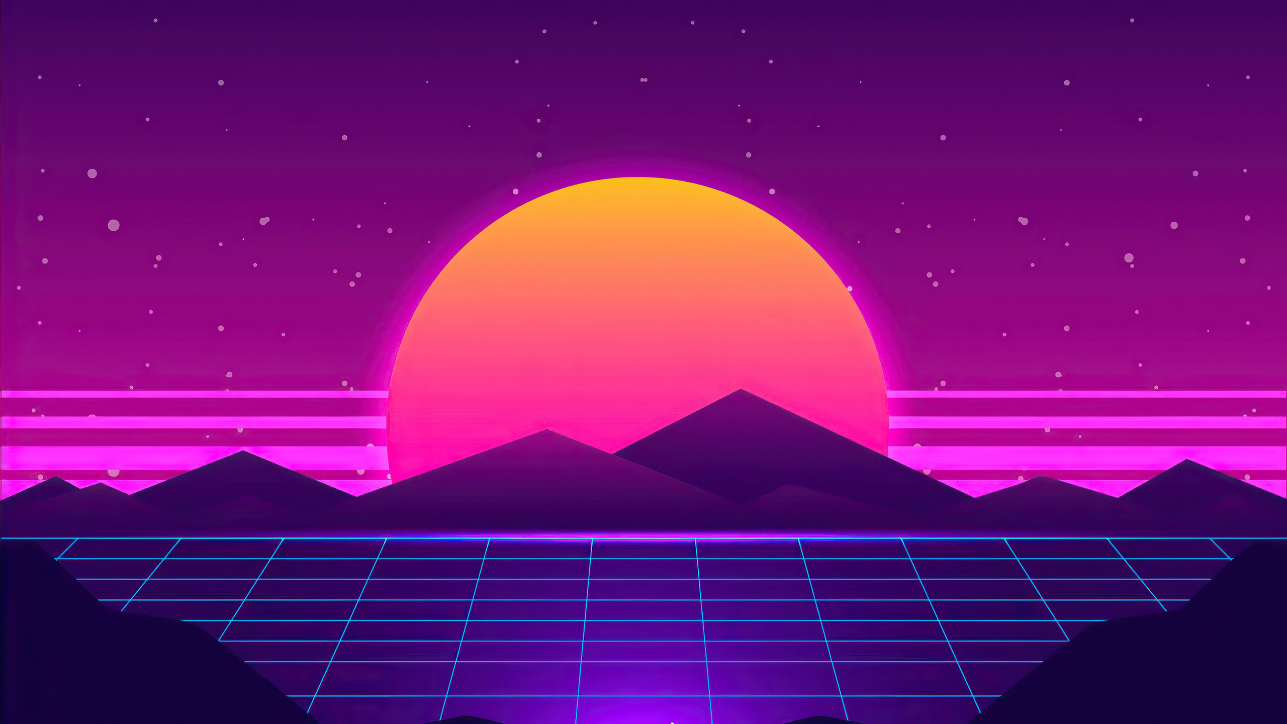 2560x1440 Synthwave Sun Mountains 4k 1440P Resolution HD ...