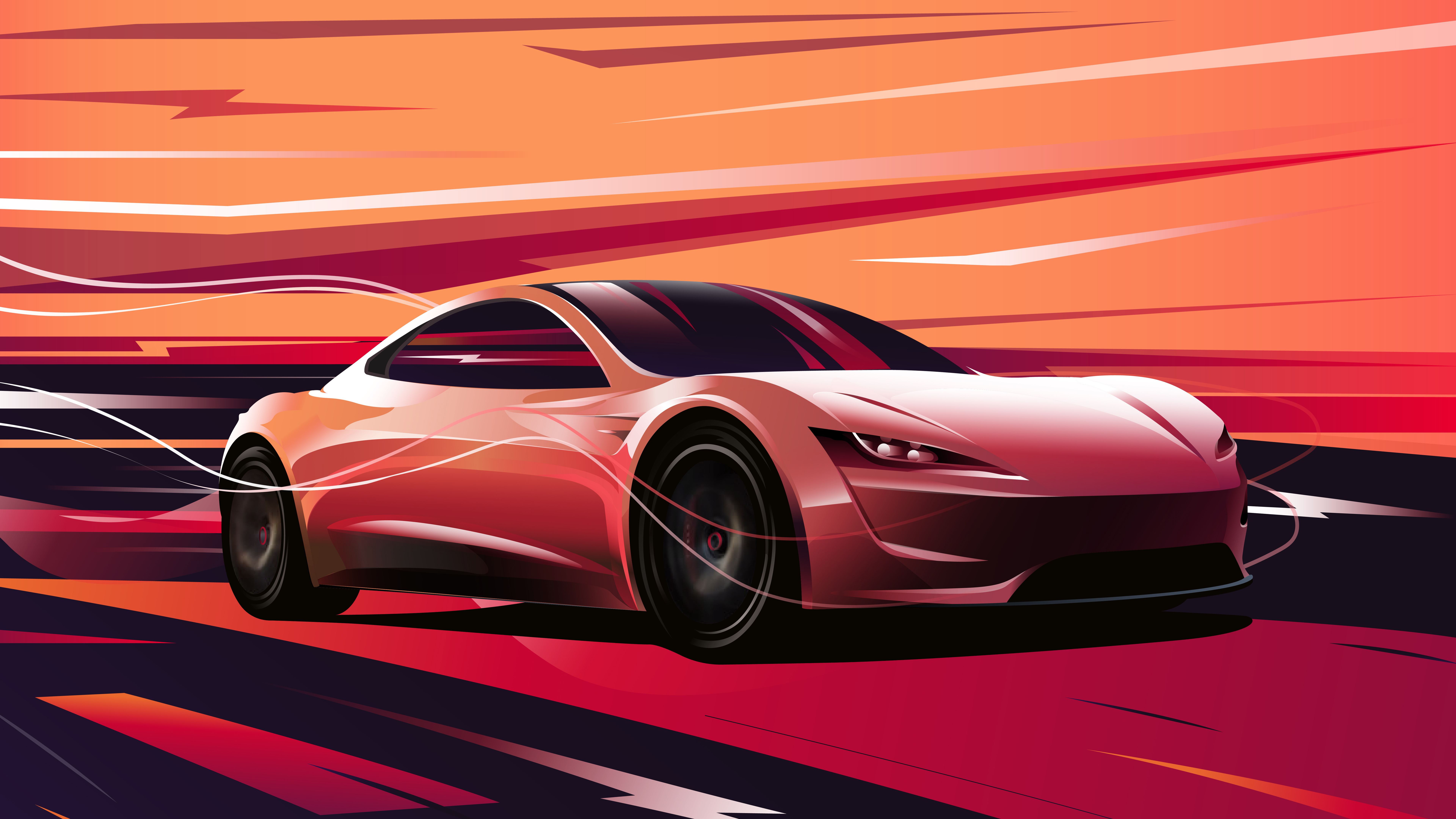 7680x4320 Tesla Roadster Digital Art 8k 8k Hd 4k Wallpapers