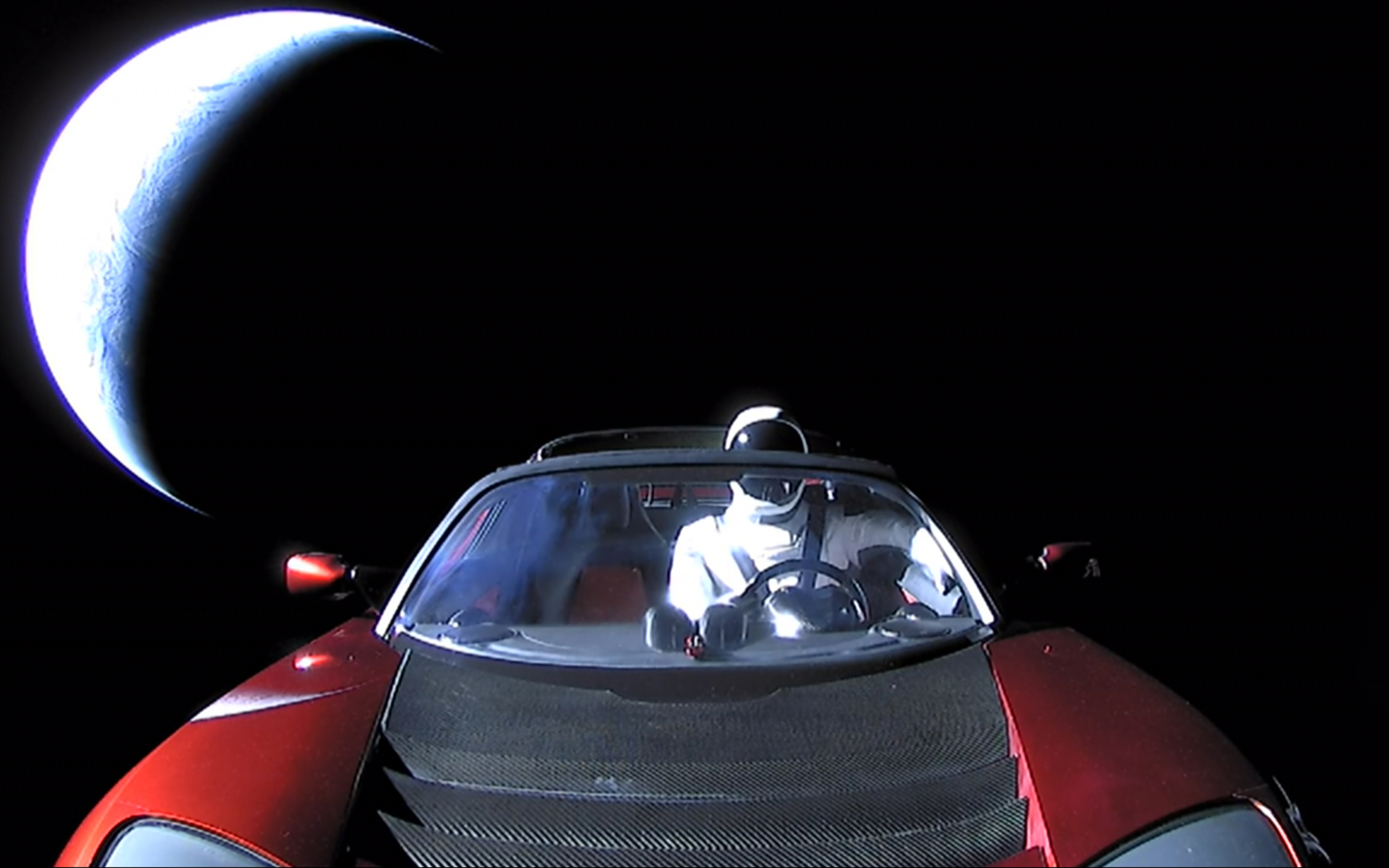 2880x1800 Tesla Roadster In Space With Space Suit Man ...