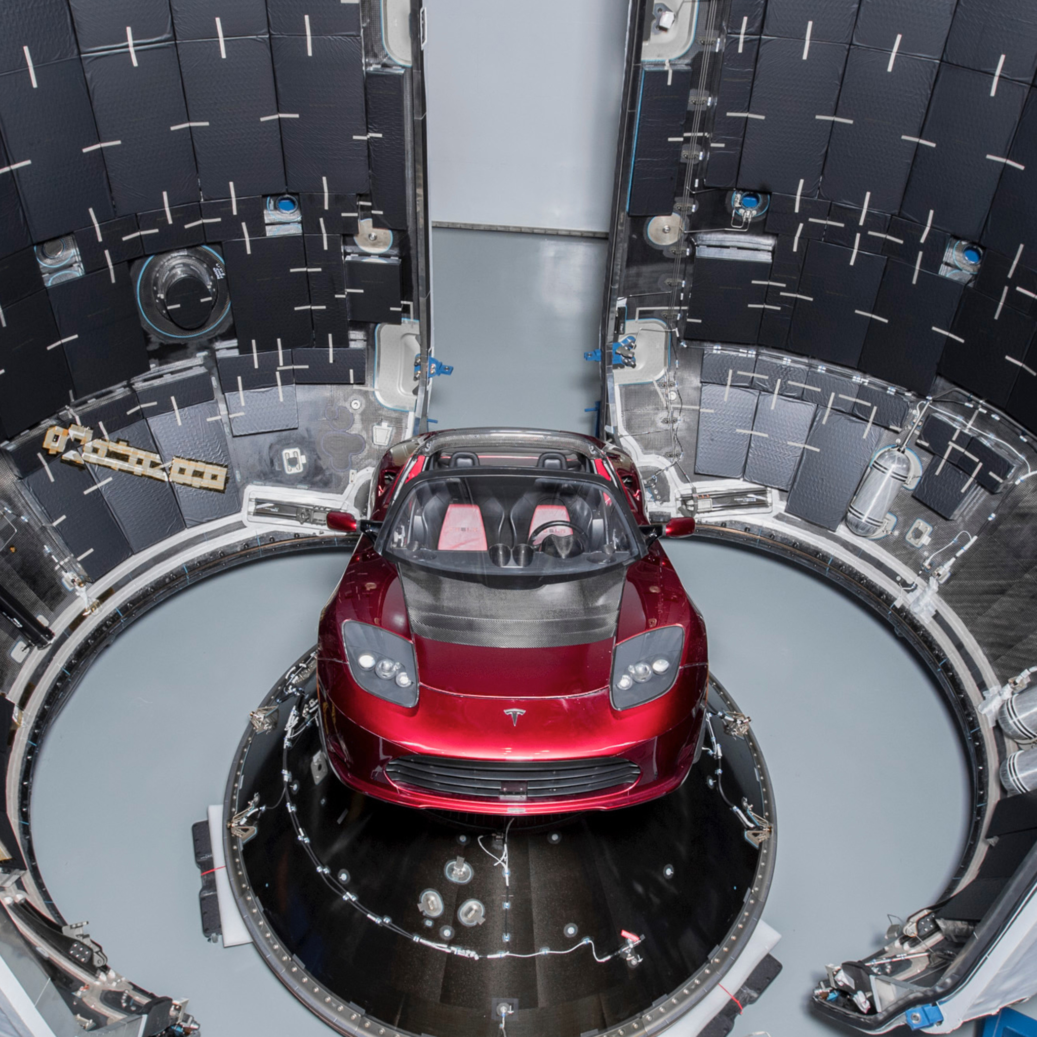 2048x2048 Tesla Roadster Into Falcon Heavy Ipad Air HD 4k