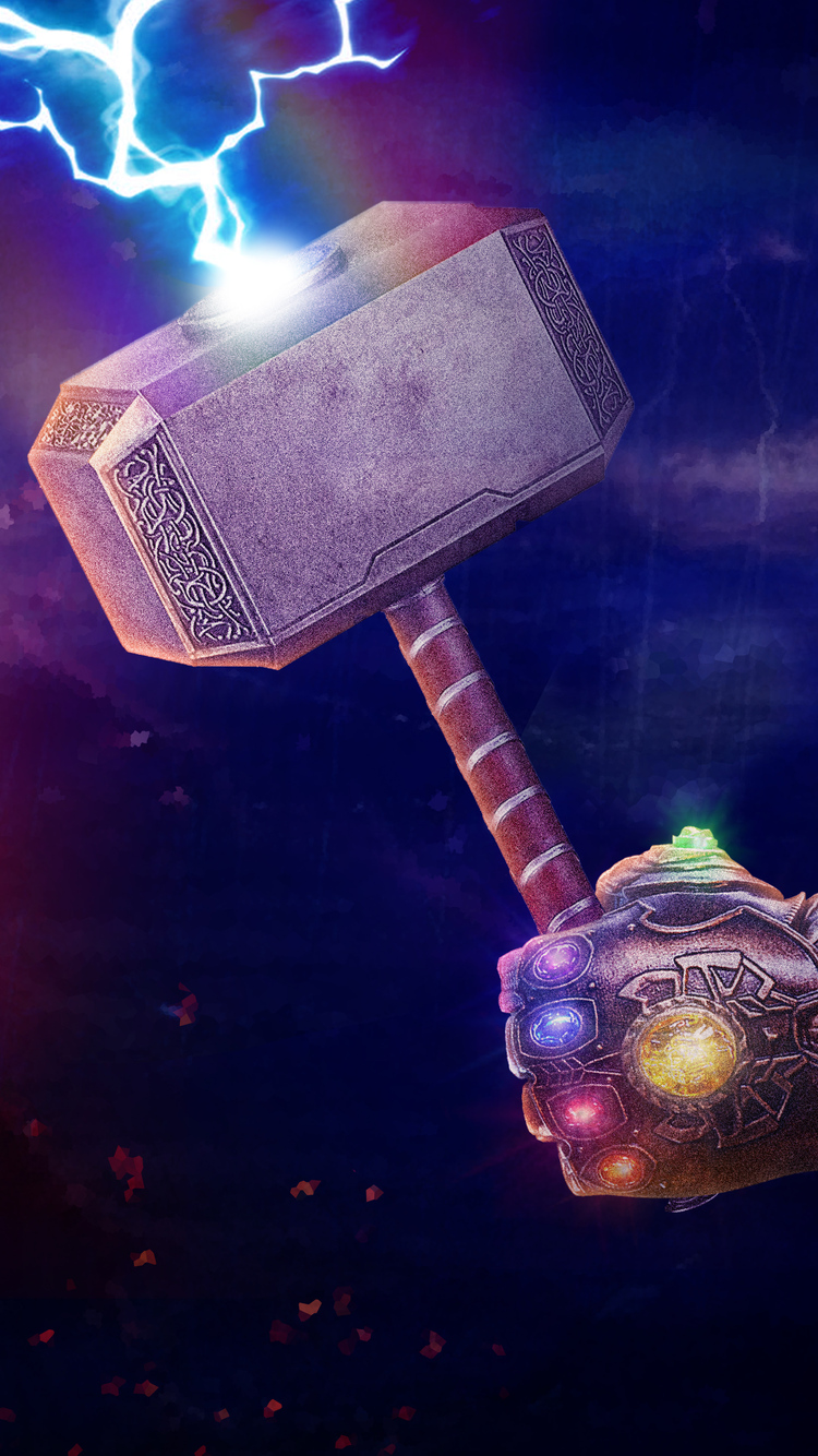 750x1334 Thanos Gauntlet With Thor Hammer Iphone 6 Iphone