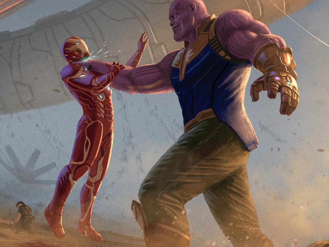 Wallpaper Thanos Avengers Infinity War Artwork Hd: 1152x864 Thanos Iron Man Avengers Infinity War 2018