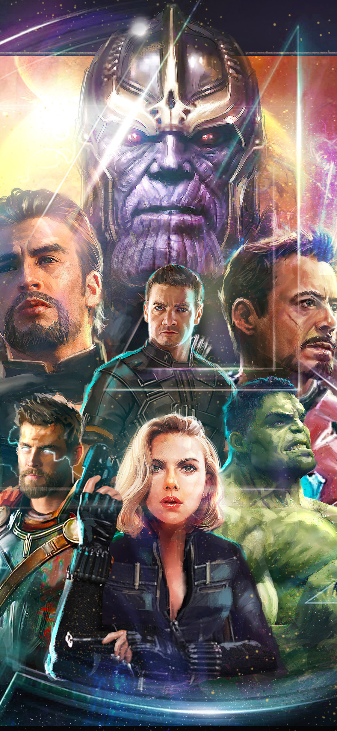 1125x2436 Thanos Iron Man Captain America Hawkeye In Avengers