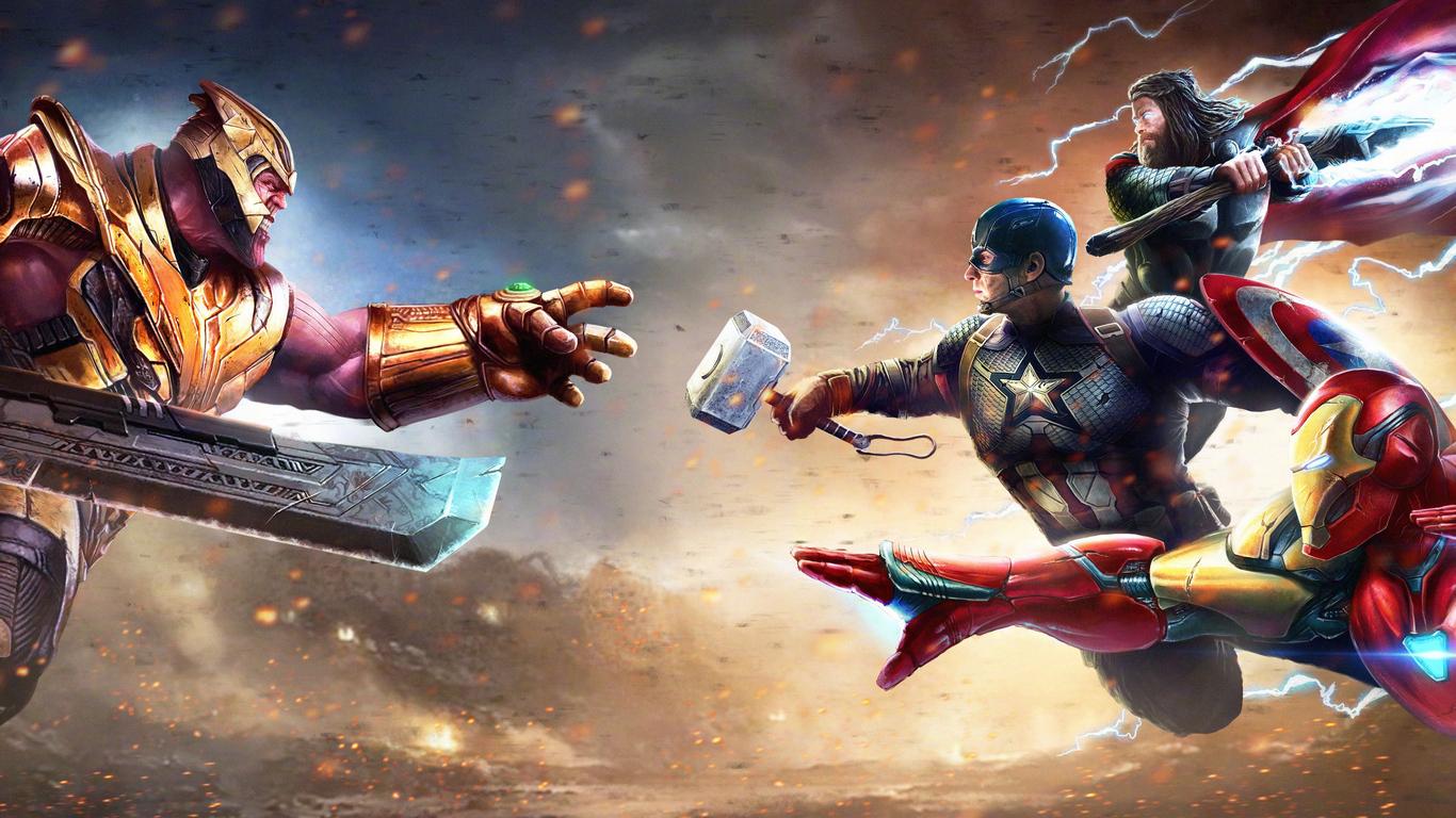 1366x768 Thanos Vs Iron Man Thor Captain America 1366x768