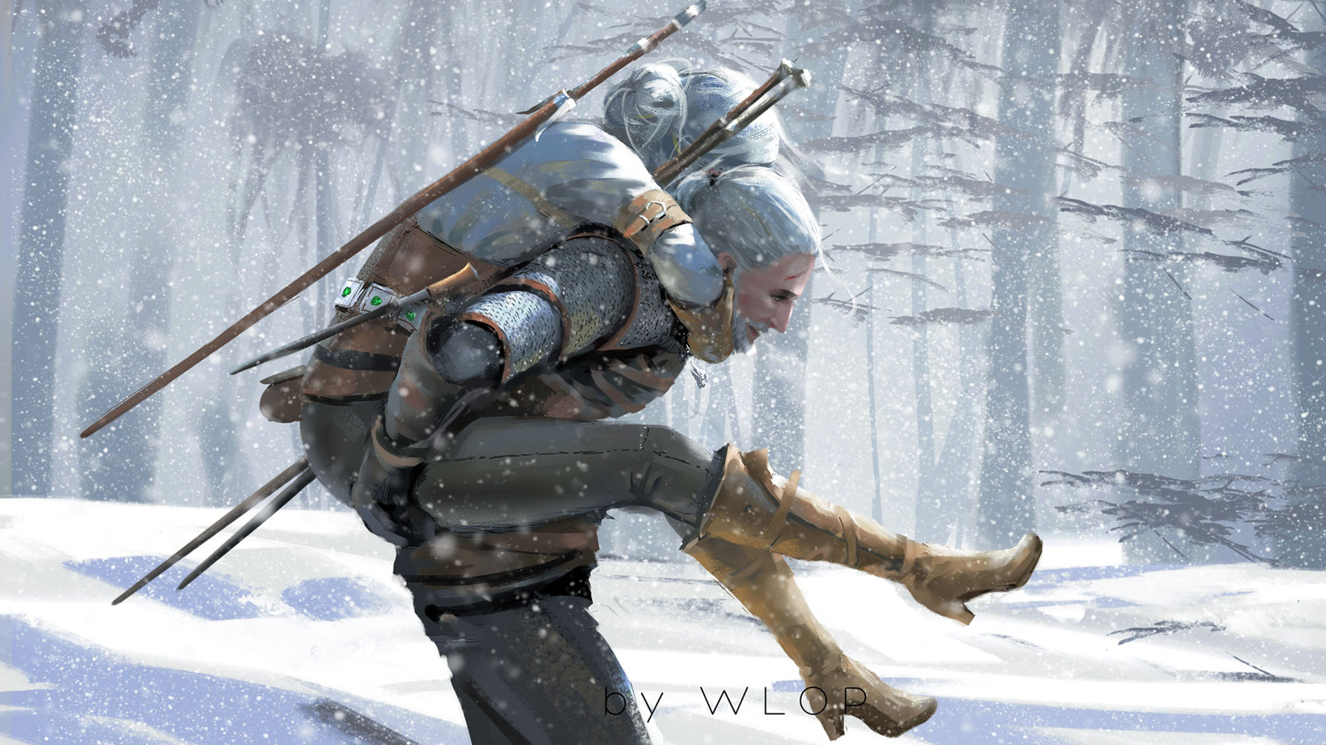 1920x1080 the witcher 3 wild hunt artwork by wlop laptop full hd 1080p hd 4k wallpapers  images