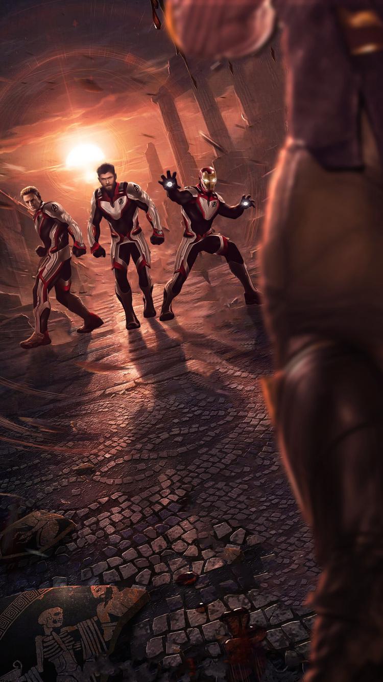 750x1334 Thor Captain America Iron Man In Quantum Realm Suit